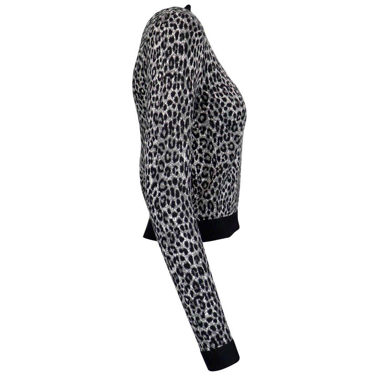 Turtleneck sweater in viscose blend with animal print Grey Michael Kors