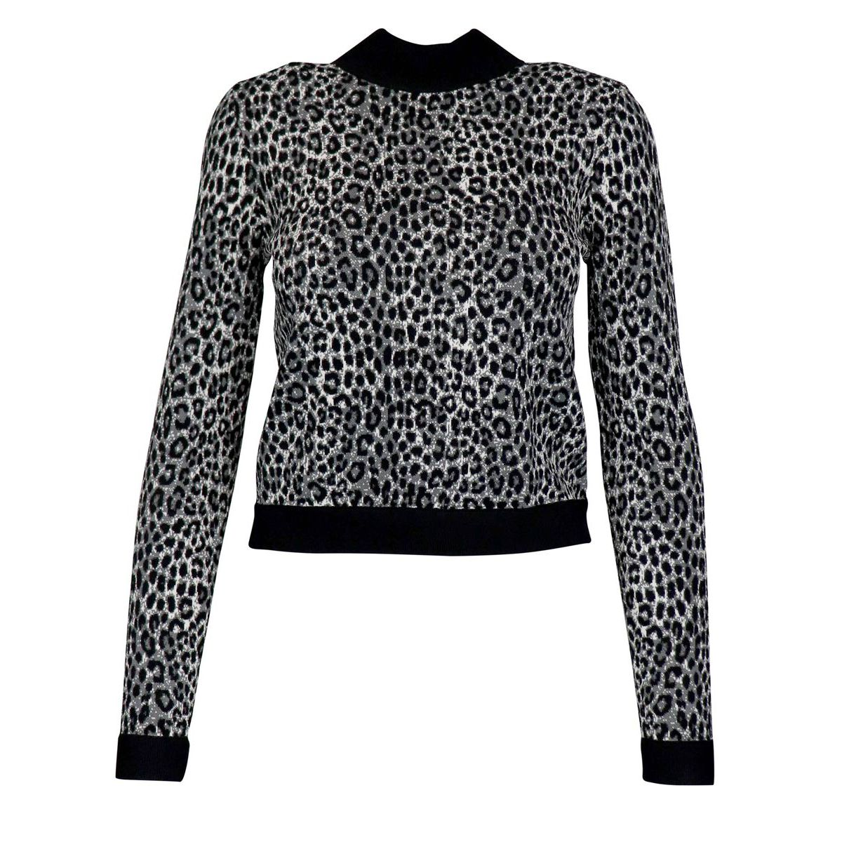 Turtleneck sweater in viscose blend with animal print Grey Michael Kors