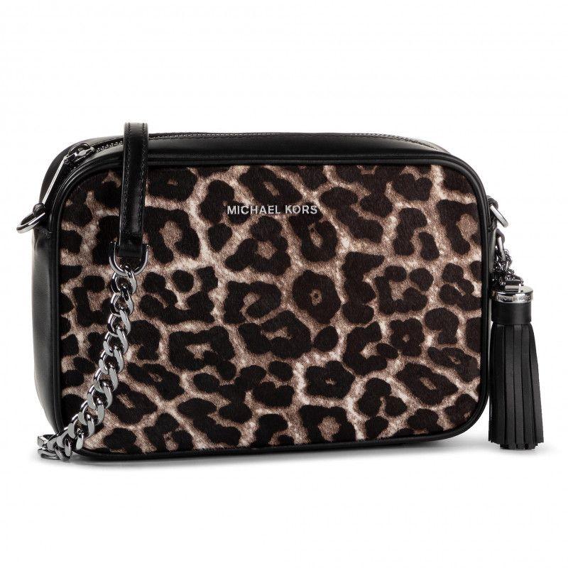 JET SET shoulder bag with leopard print Black / speckled Michael Kors