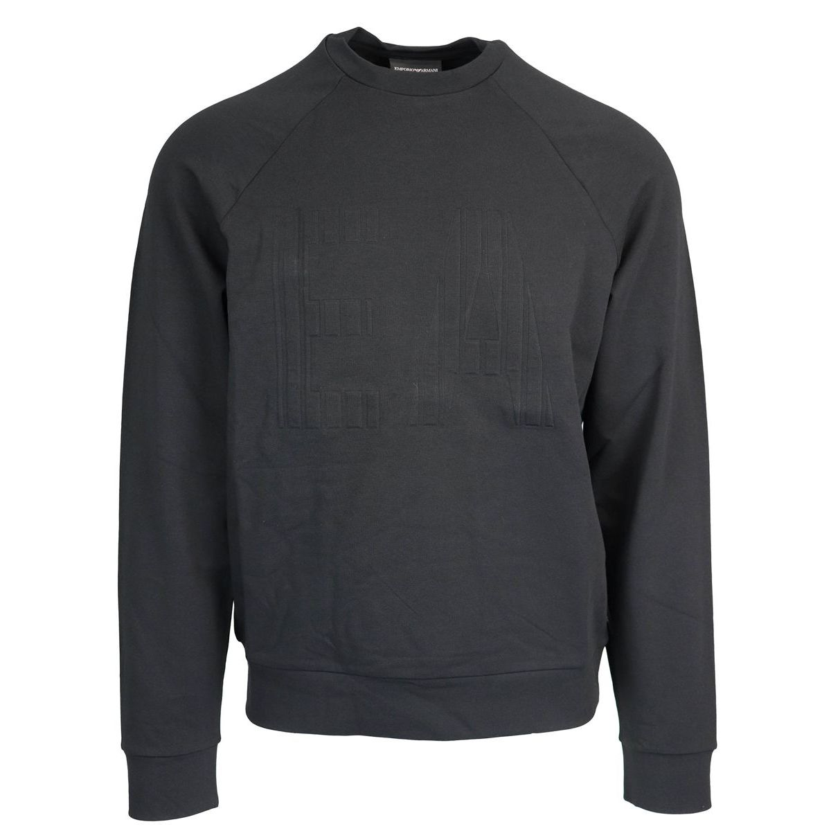 Crewneck sweatshirt in stretch cotton with embossed logo Black Emporio Armani