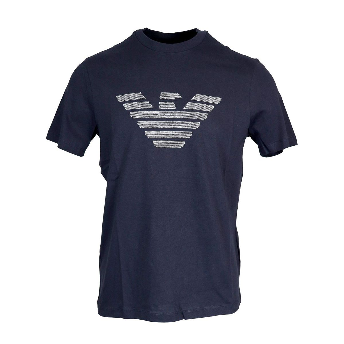 Cotton T-shirt with maxi logo Navy Emporio Armani