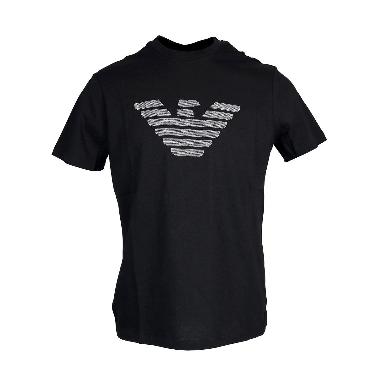 Cotton T-shirt with maxi logo Black Emporio Armani