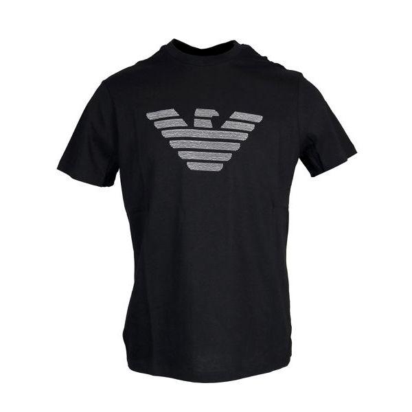 Cotton T-shirt with maxi logo Black Emporio Armani
