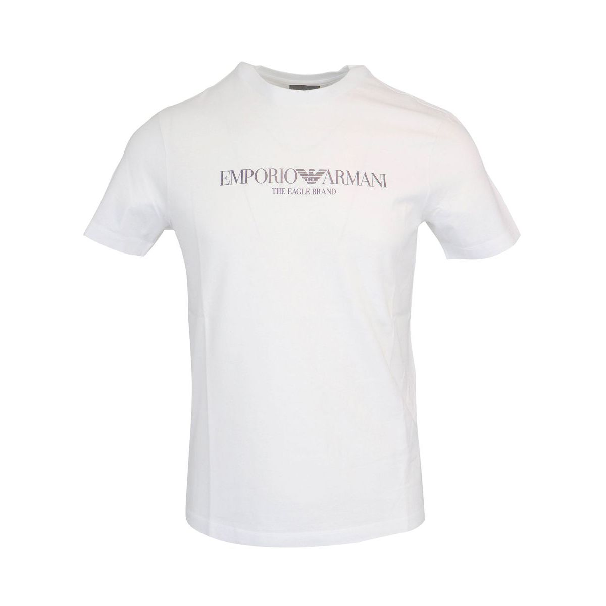 Logo print cotton t-shirt on the front White Emporio Armani