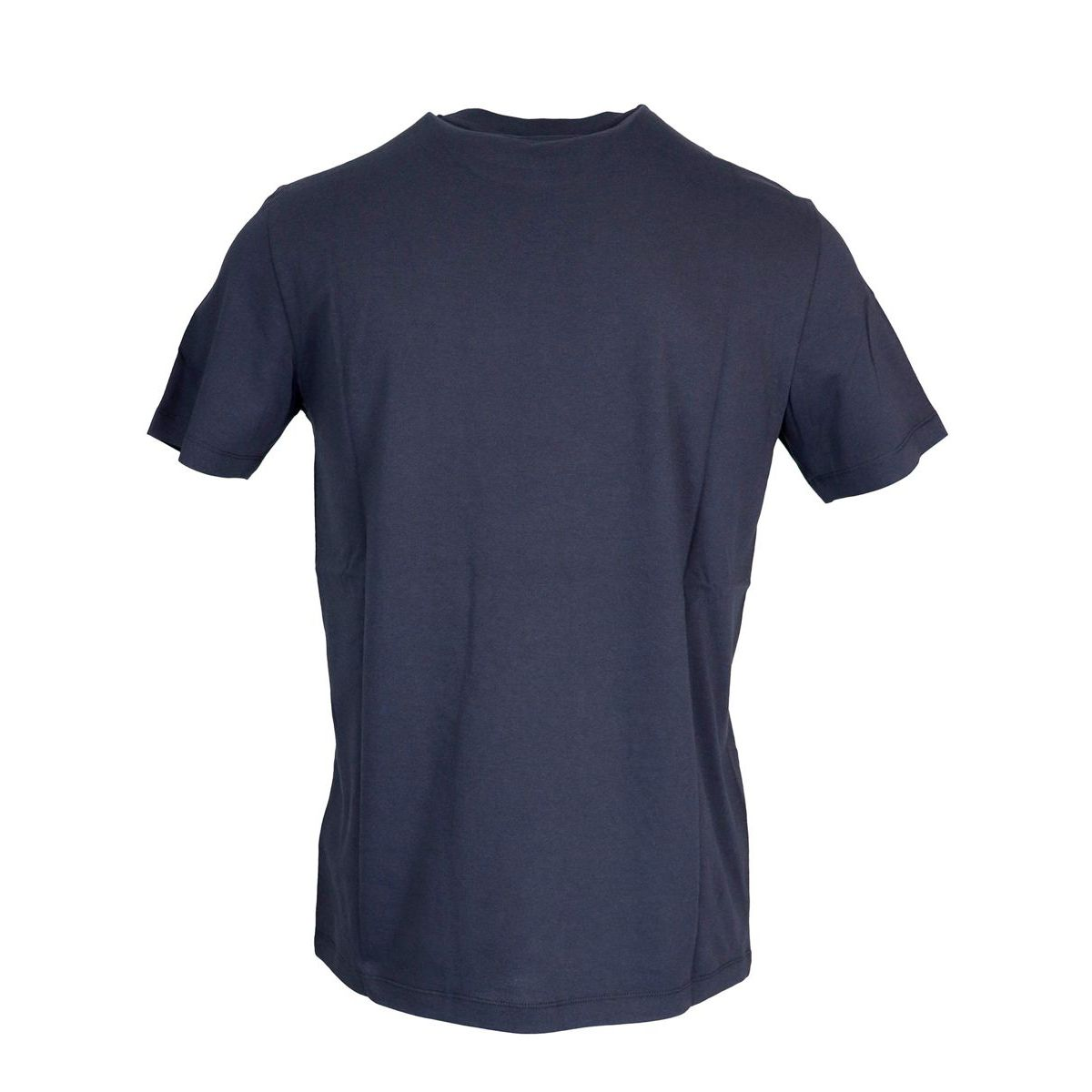 Logo print cotton t-shirt on the front Navy Emporio Armani