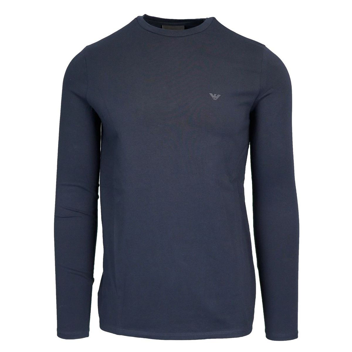 T-shirt with long sleeves in stretch cotton Navy Emporio Armani