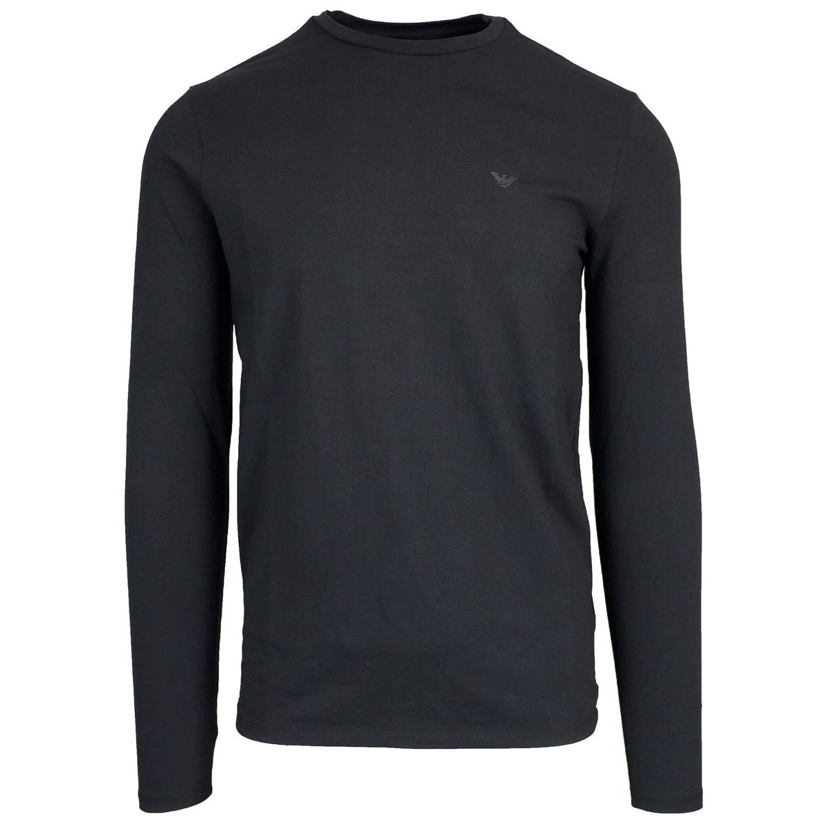 T-shirt with long sleeves in stretch cotton Black Emporio Armani