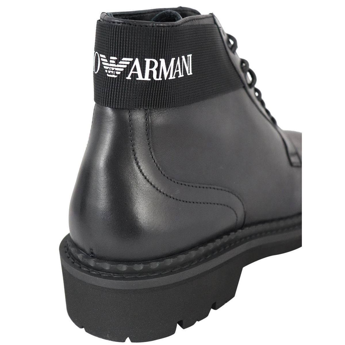 Leather boot with logo on the back Black Emporio Armani