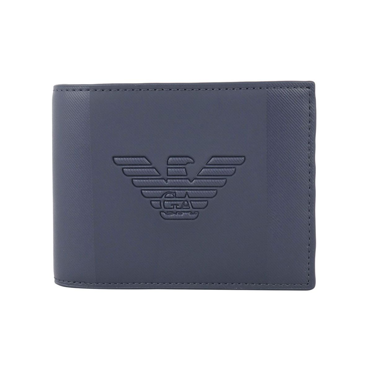 Leather wallet with embossed logo Navy Emporio Armani