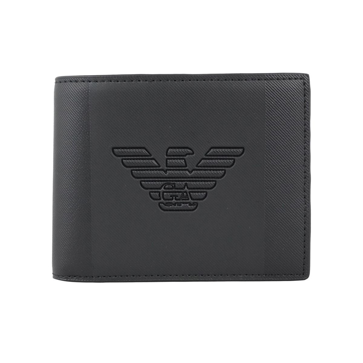 Leather wallet with embossed logo Black Emporio Armani