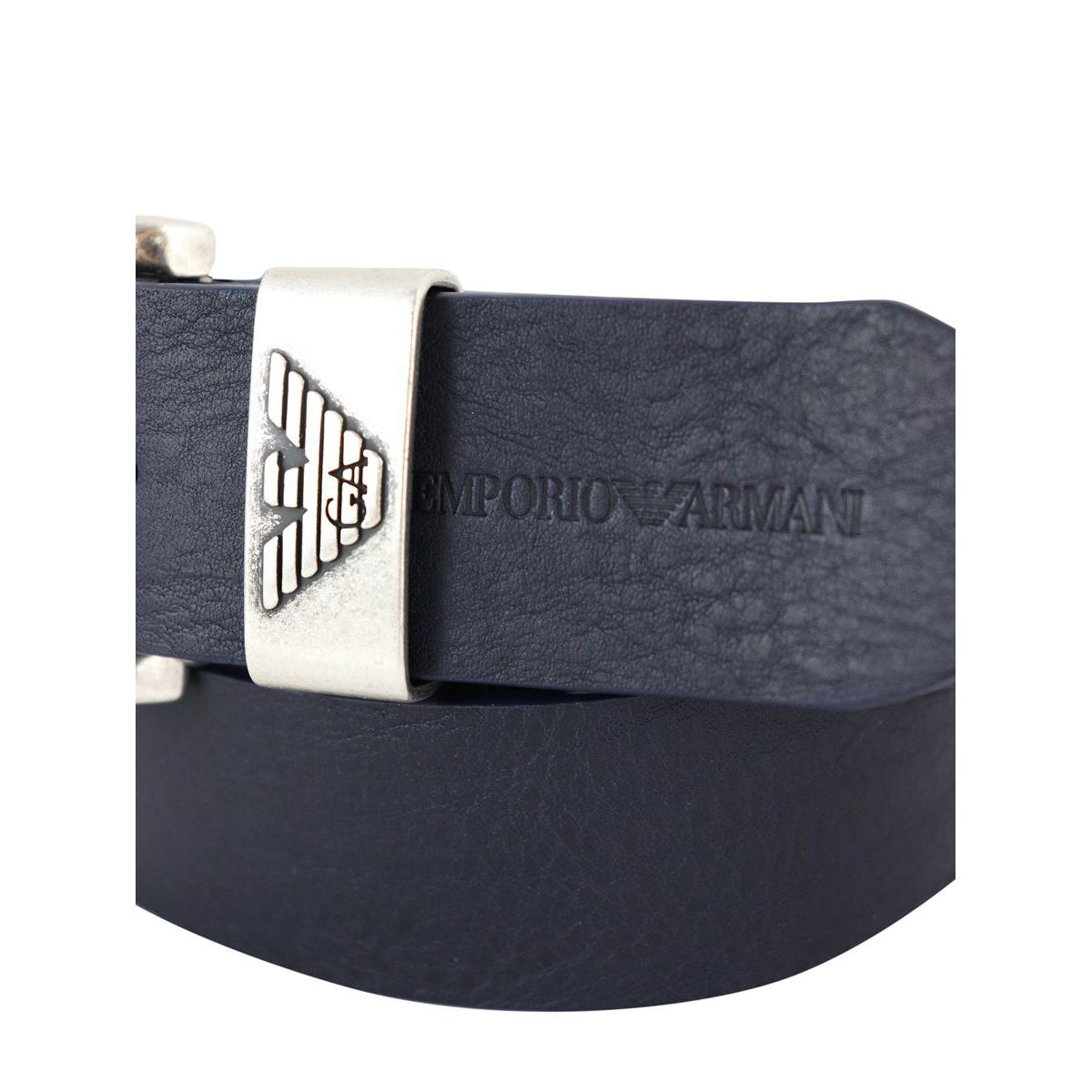 Hammered leather belt with logo engraving Blue Emporio Armani