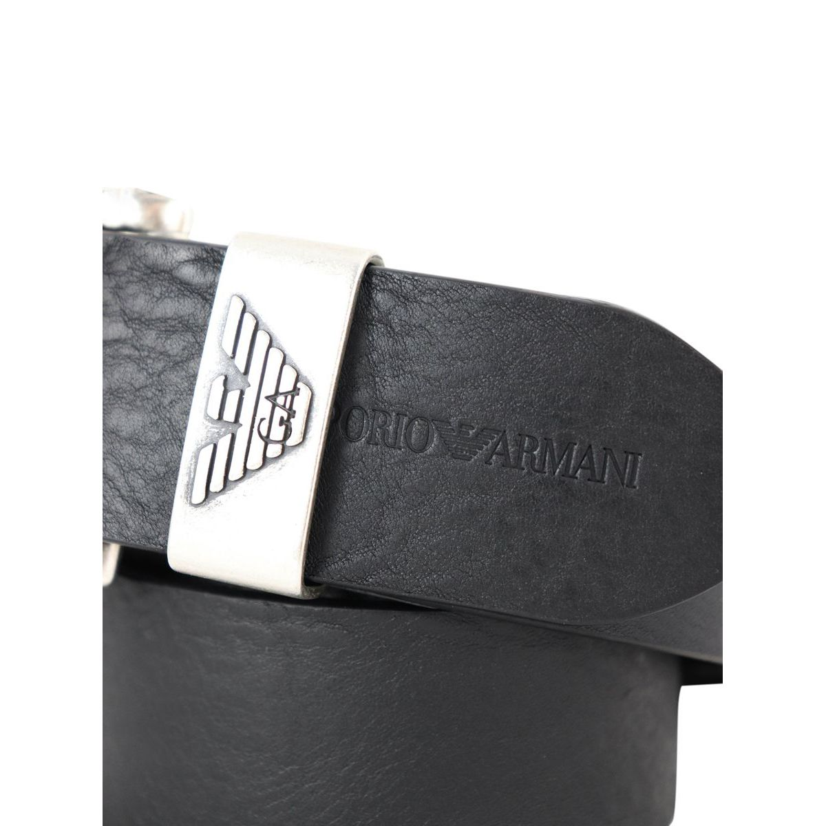 Hammered leather belt with logo engraving Black Emporio Armani