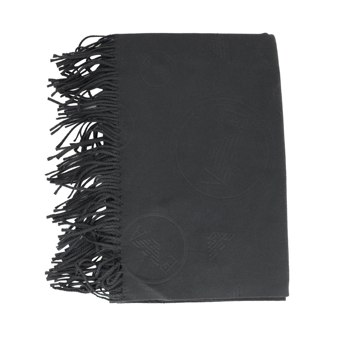 Scarf with embossed logos Black Emporio Armani