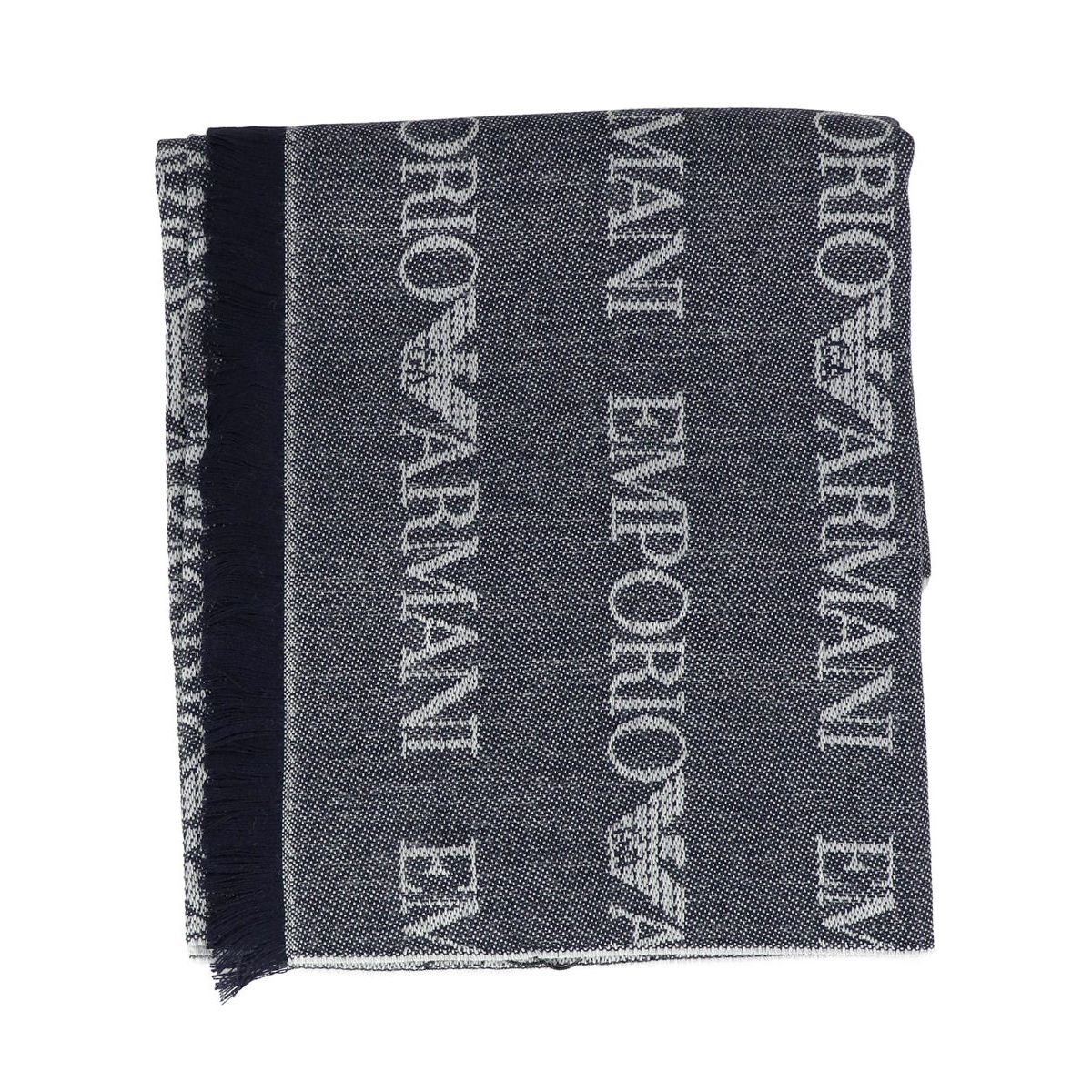 Scarf with all over writing Blue Emporio Armani
