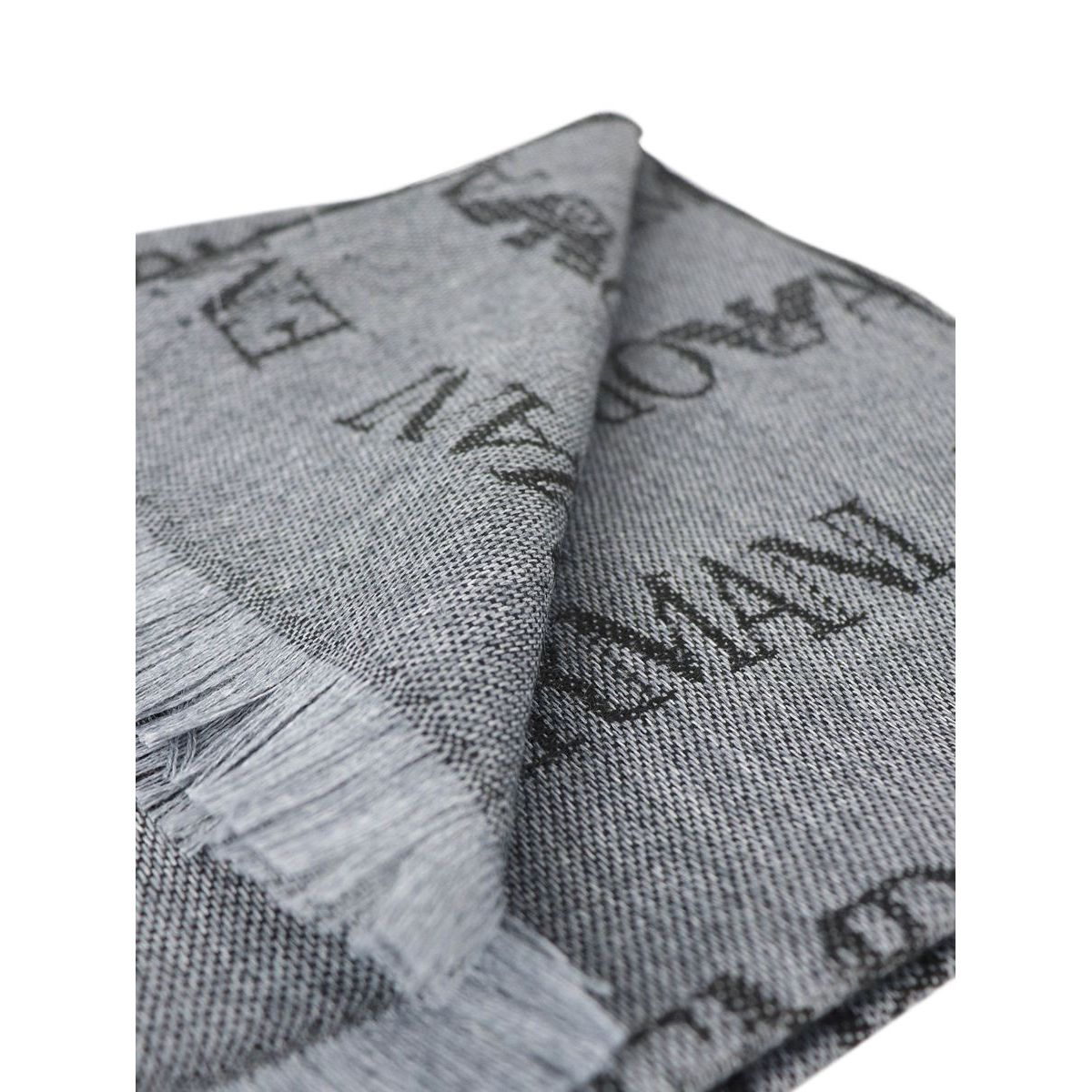 Scarf with all over writing Grey Emporio Armani