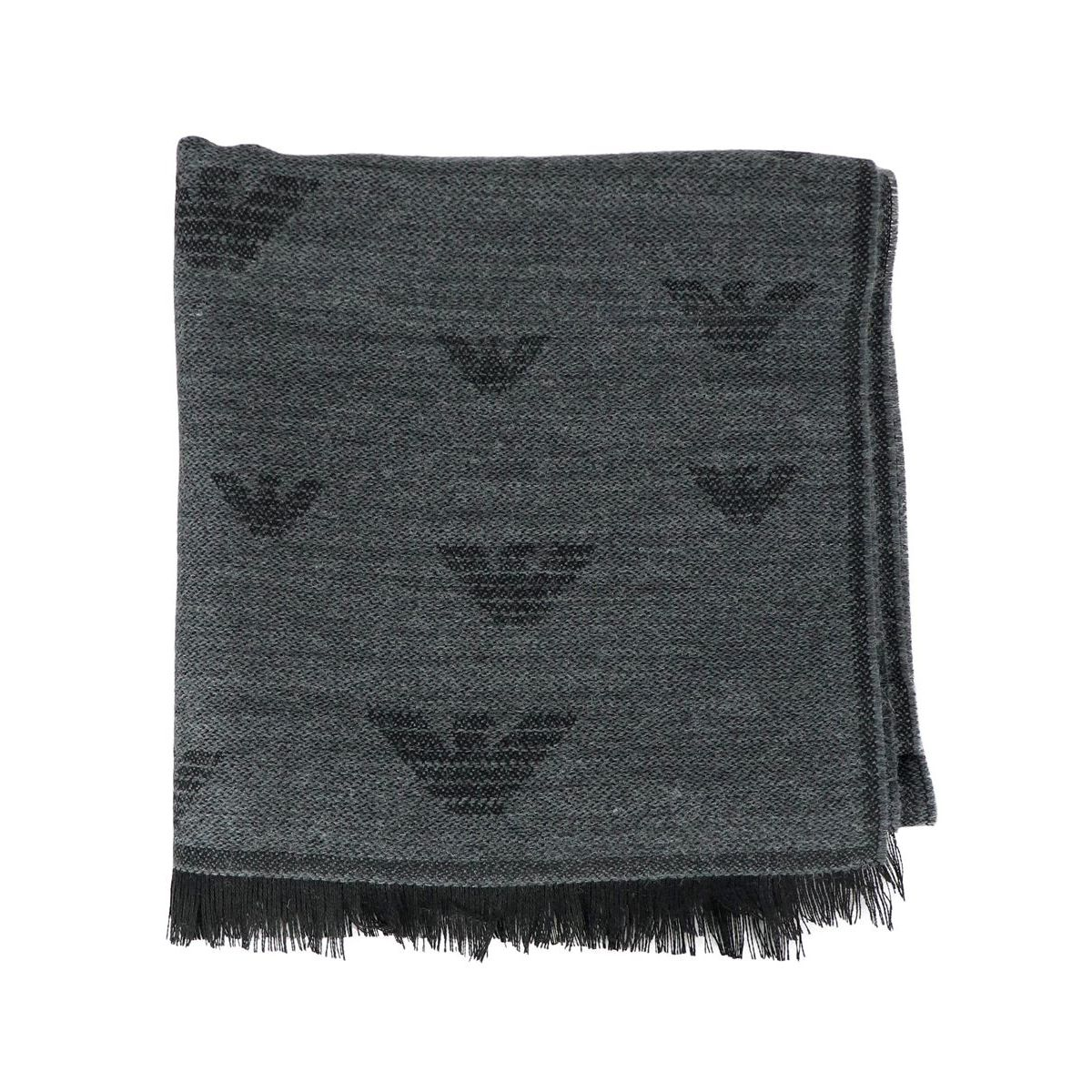 Scarf with all over logos Anthracite Emporio Armani