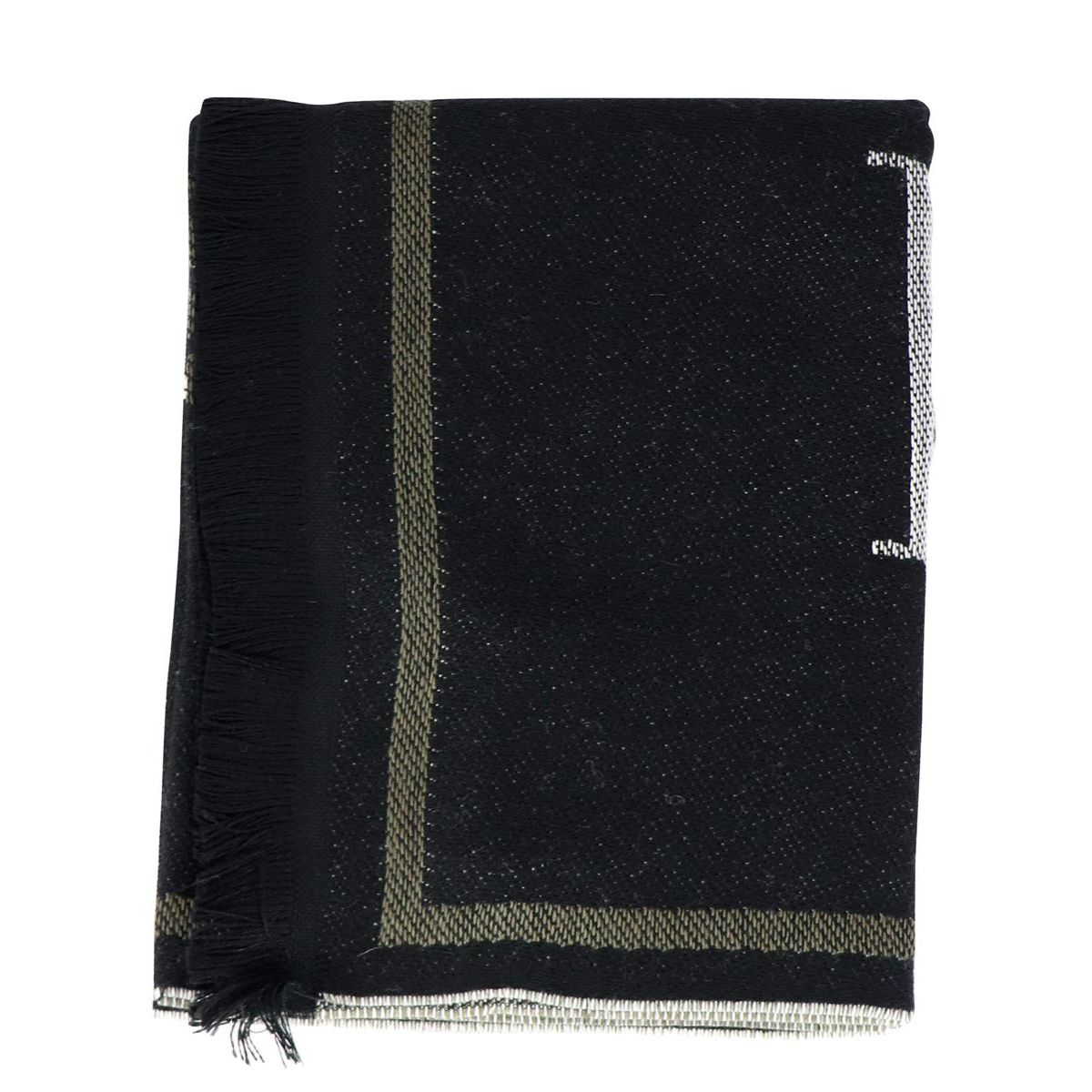 Mixed wool scarf with large central writing Anthracite Emporio Armani