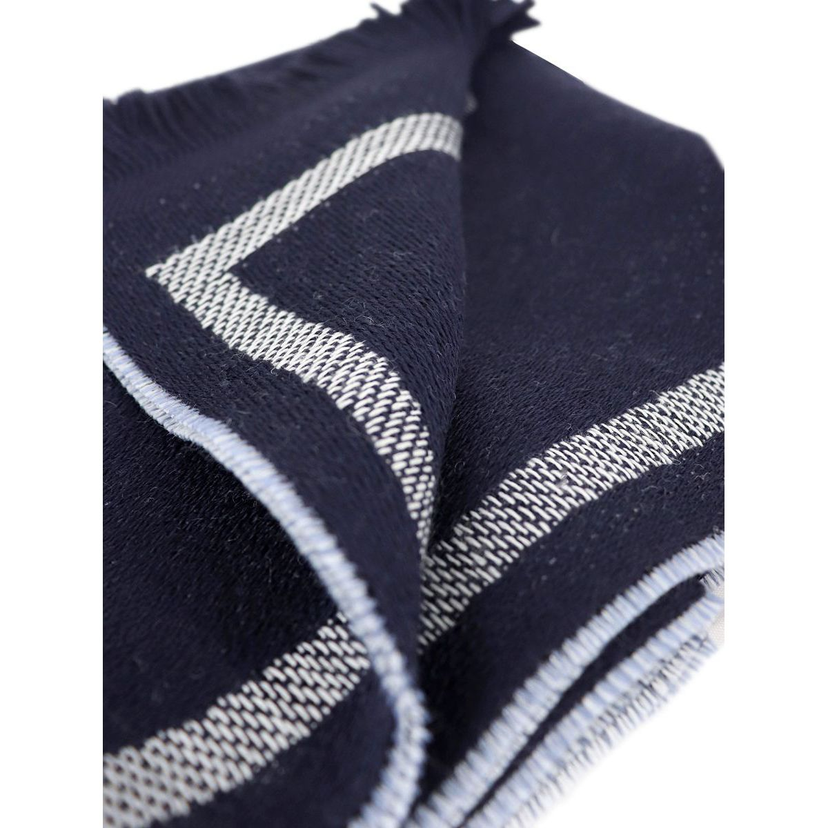 Mixed wool scarf with large central writing Blue Emporio Armani