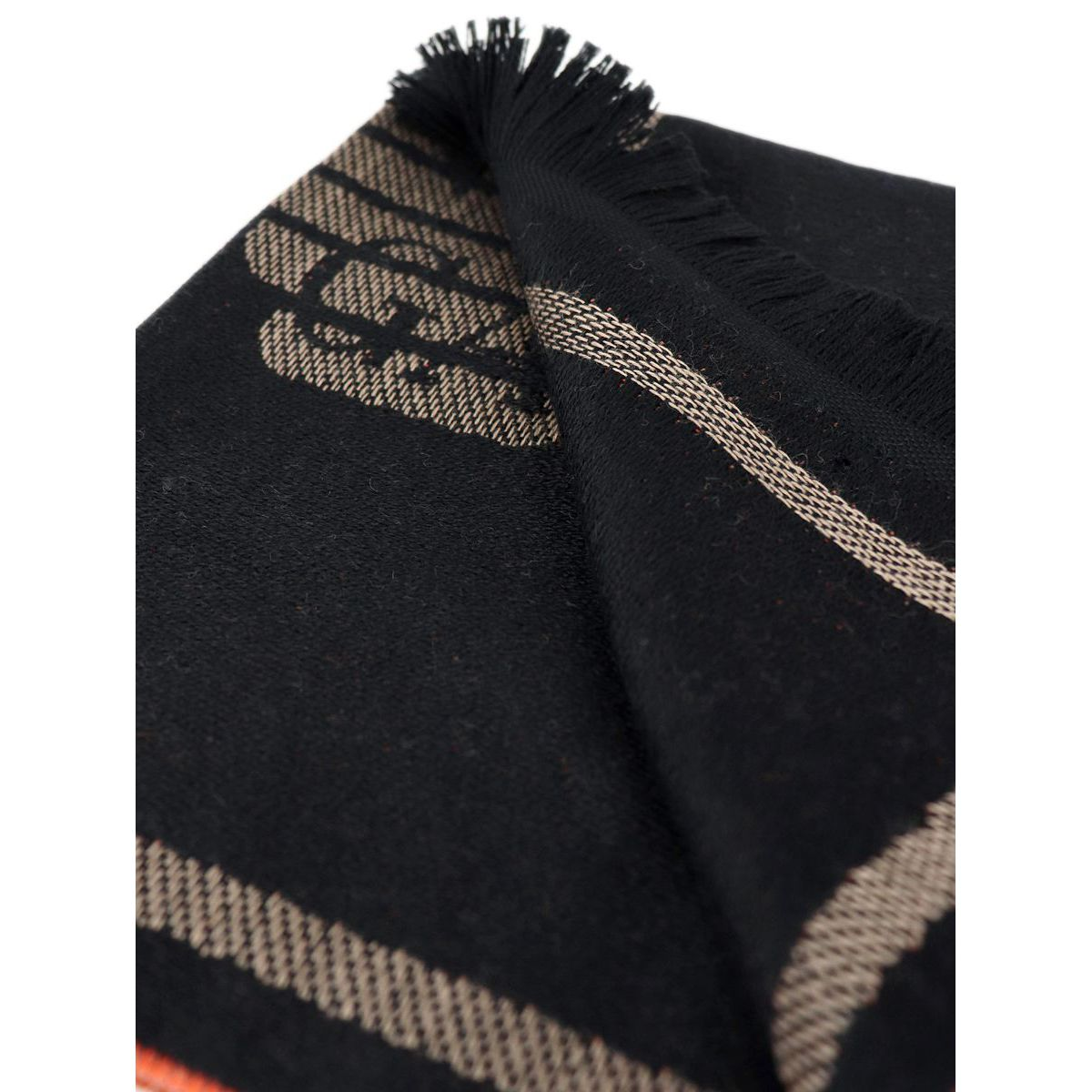 Mixed wool scarf with large central writing Black Emporio Armani