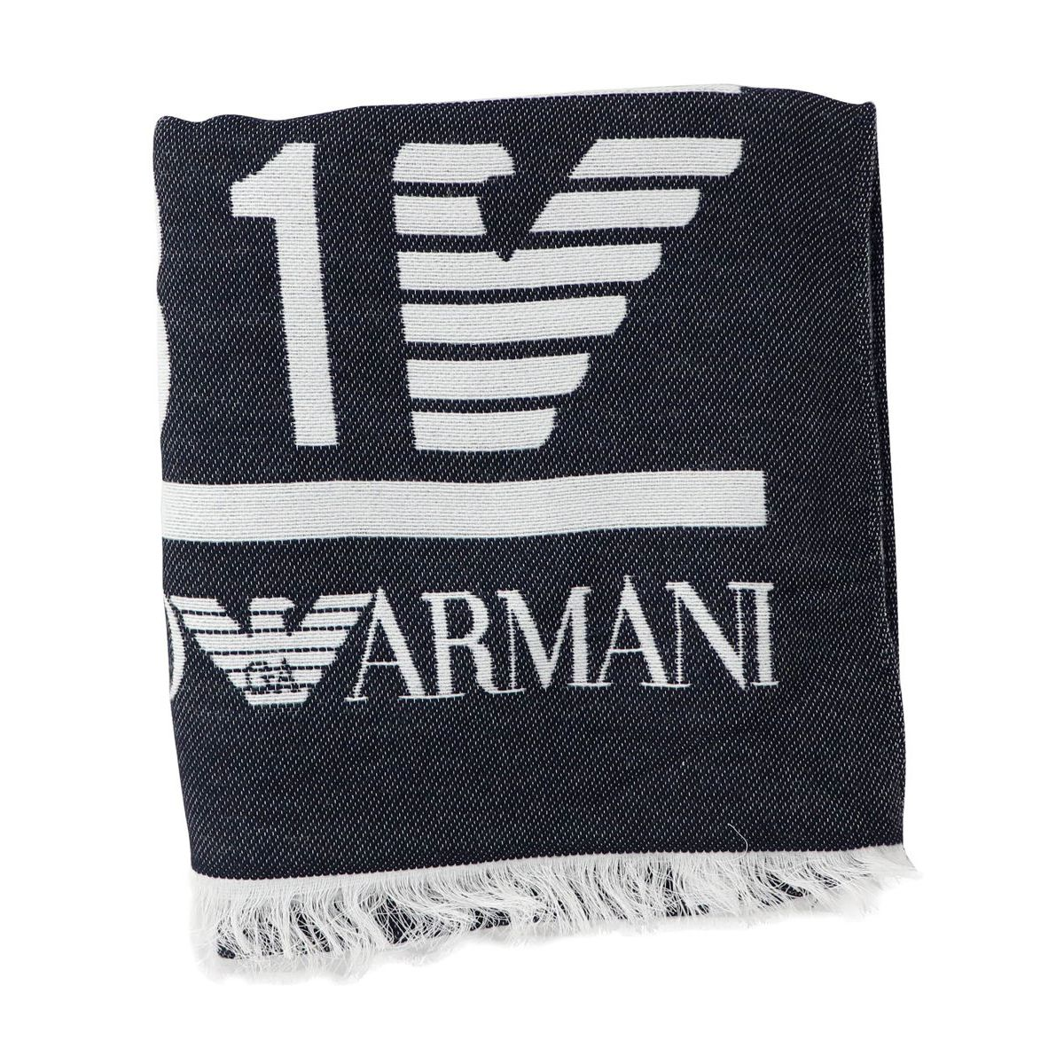 Scarf with contrasting logos and lettering Blue Emporio Armani