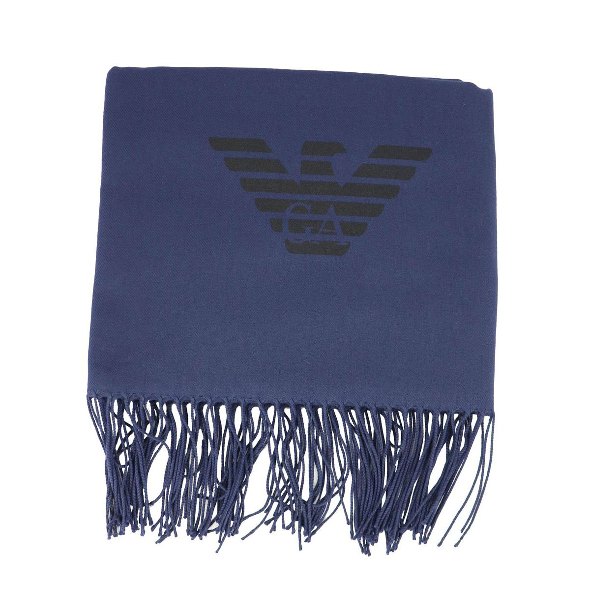 Scarf in viscose blend with logo and fringe Blue Emporio Armani