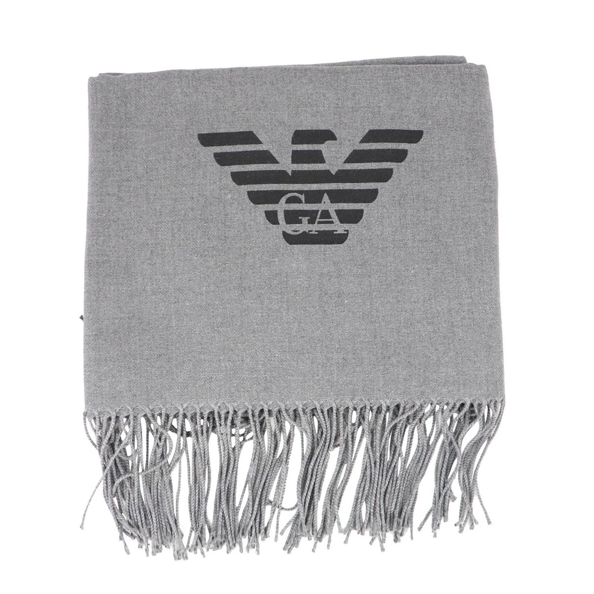Scarf in viscose blend with logo and fringe Grey Emporio Armani