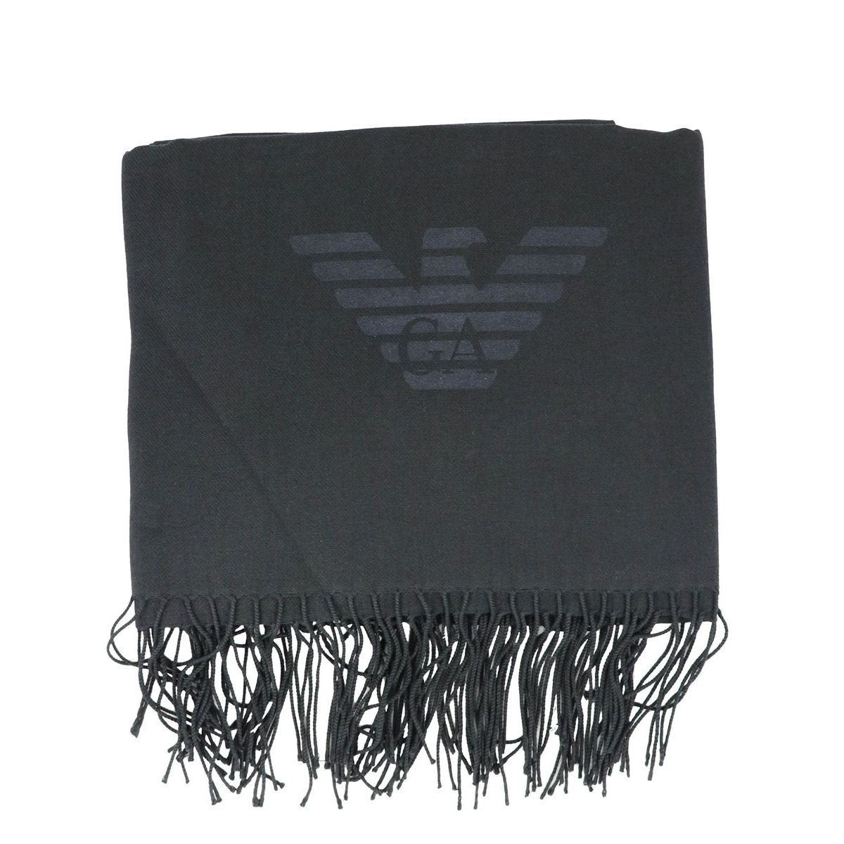 Scarf in viscose blend with logo and fringe Black Emporio Armani