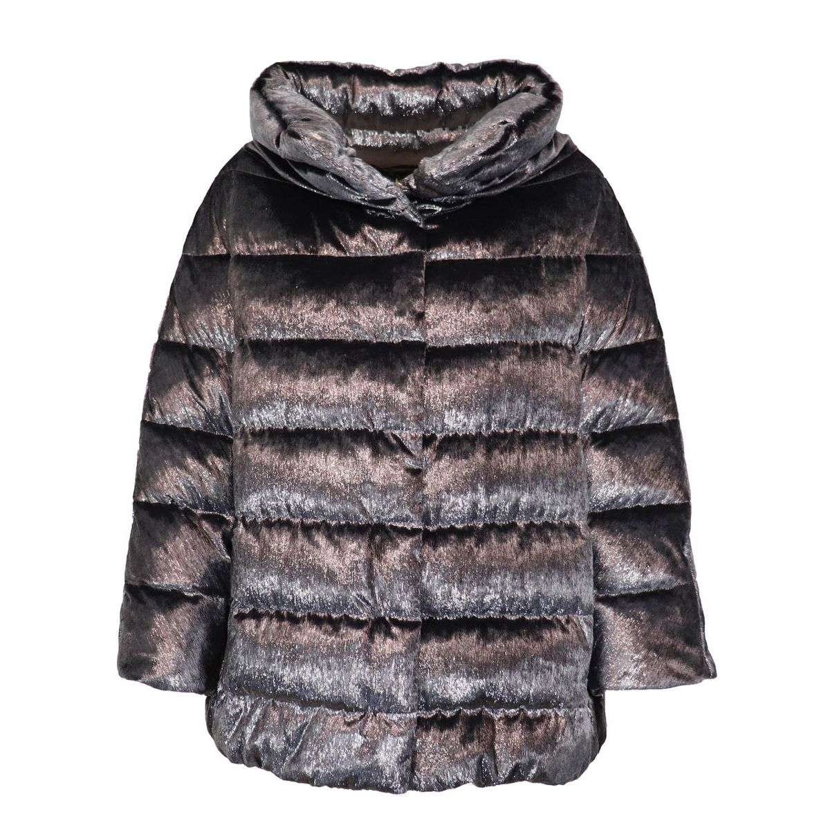 Ring-shaped jacket in frosted velvet feather Grey Herno