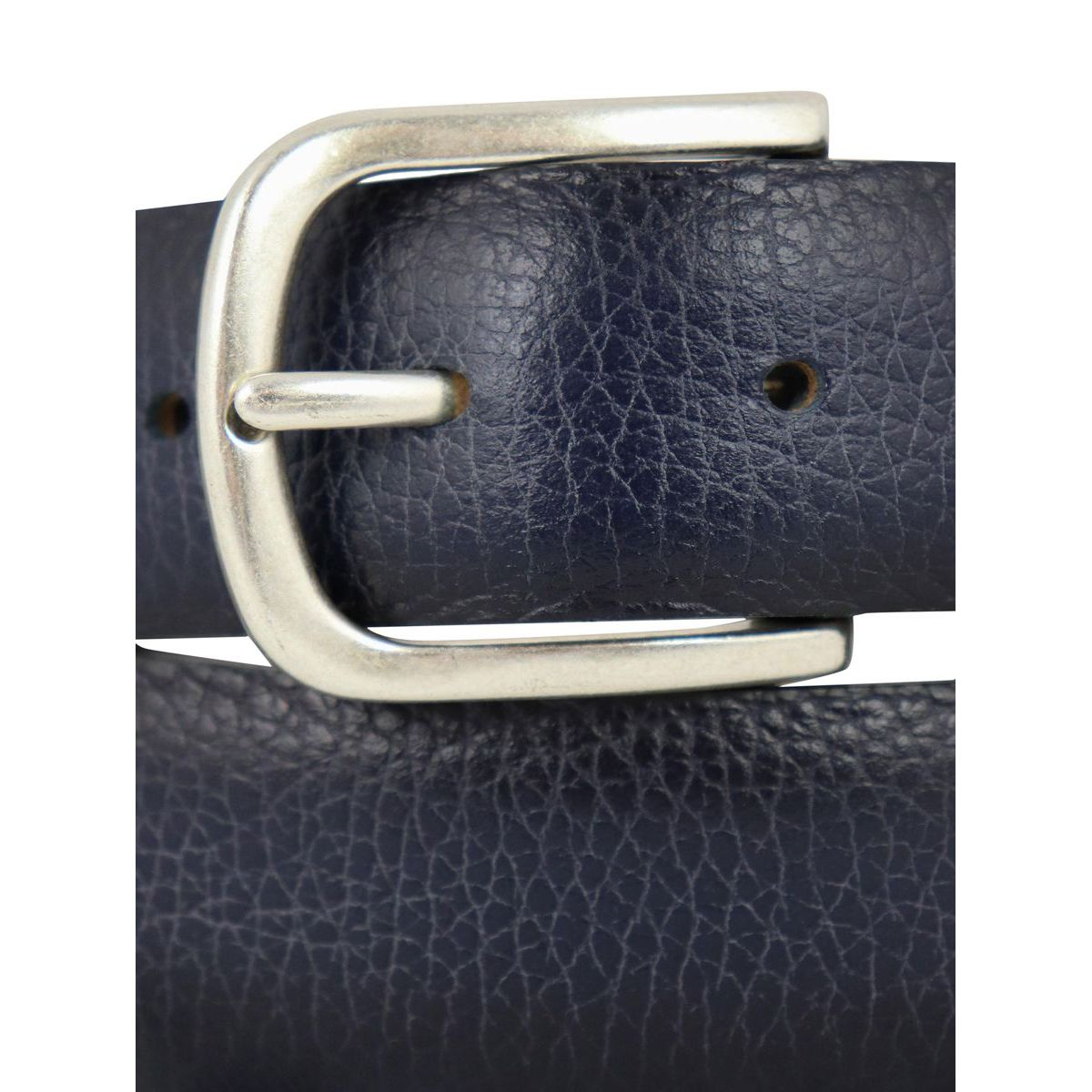 Hammered leather belt with shaded effect and steel details Navy Orciani