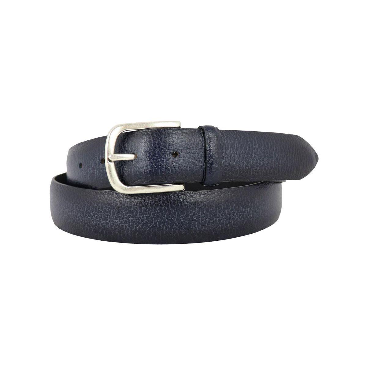 Cintura in pelle martellata effetto sfumato con dettagli acciaio Navy Orciani