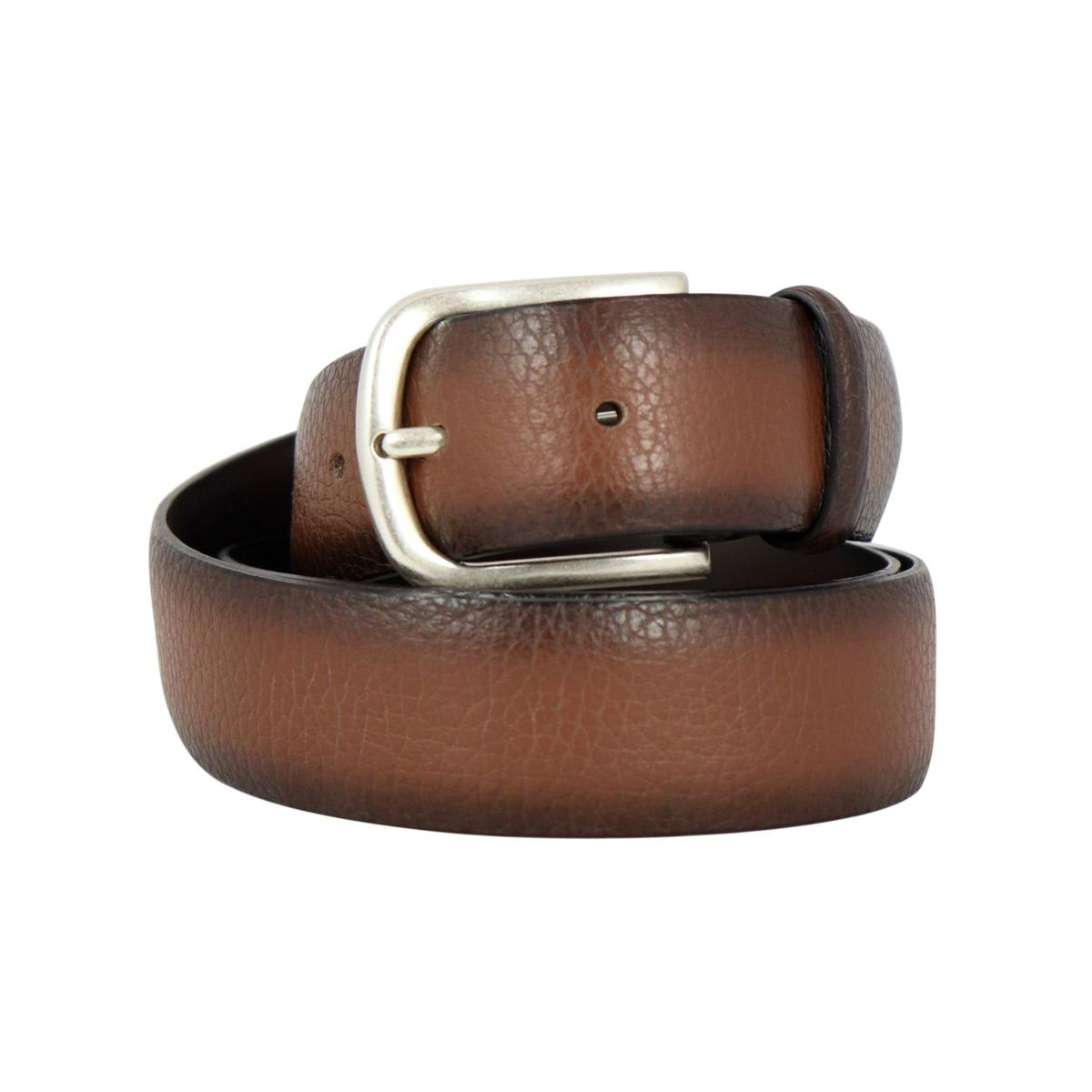 Hammered leather belt with shaded effect and steel details Cigar Orciani