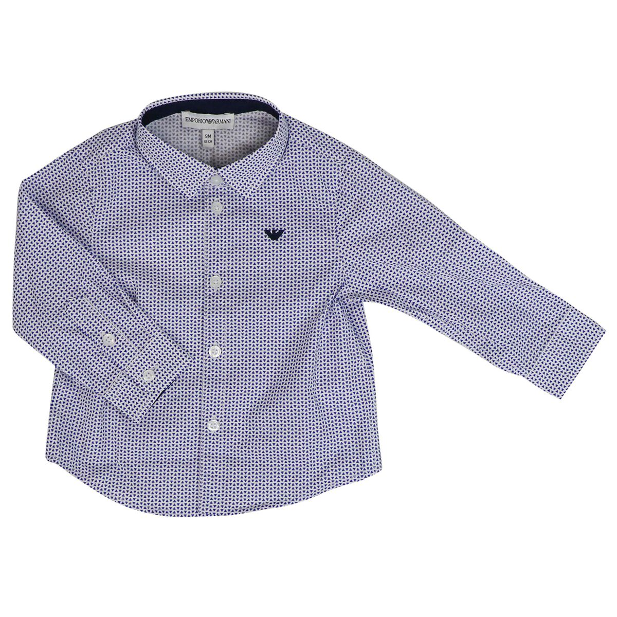 Micro-patterned shirt with logo Fancy white Emporio Armani