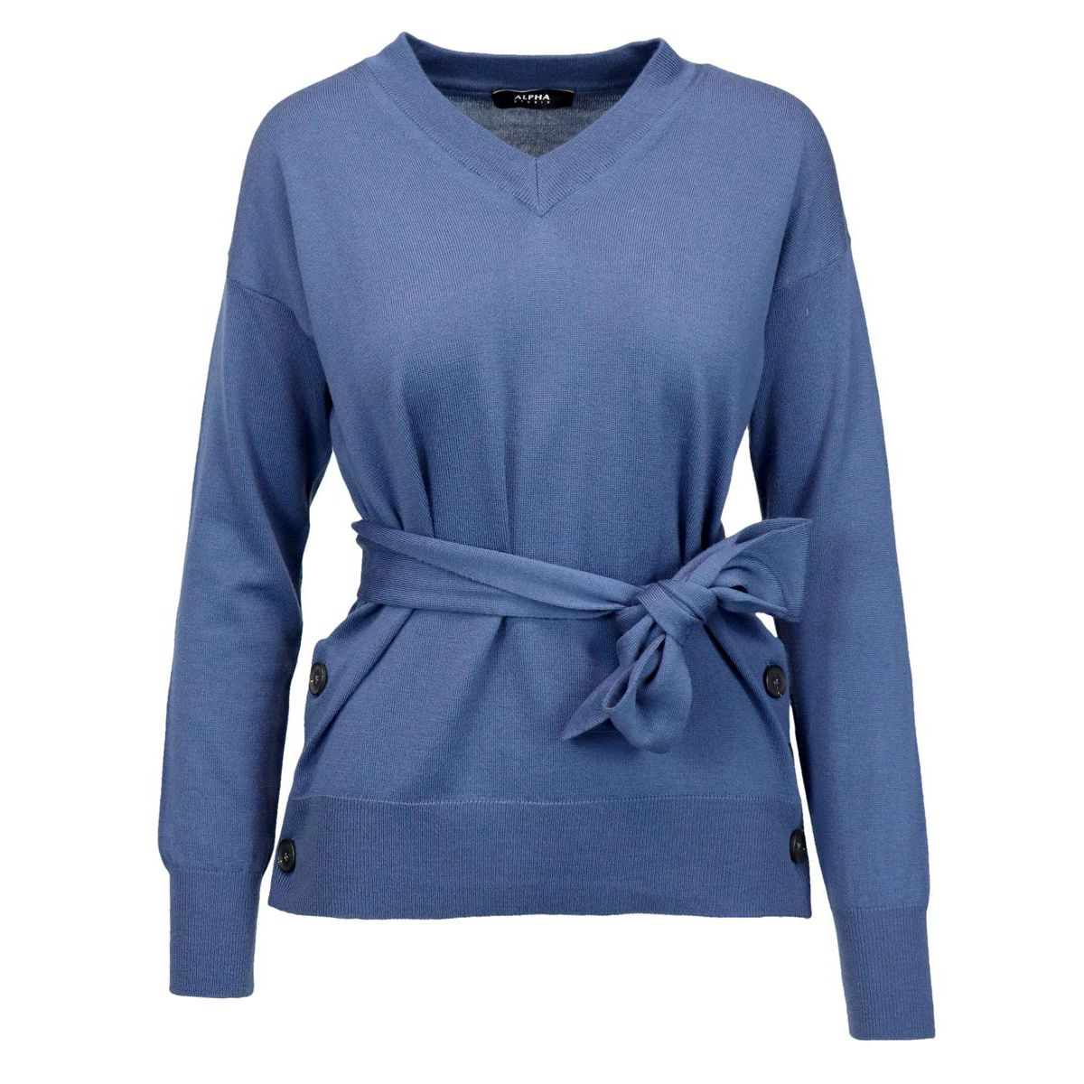 V-neck wool sweater with belt and side buttons Light blue Alpha Studio