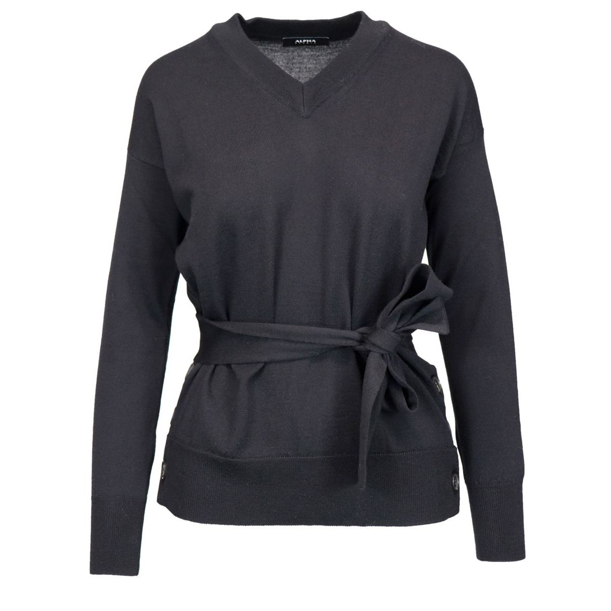 V-neck wool sweater with belt and side buttons Black Alpha Studio