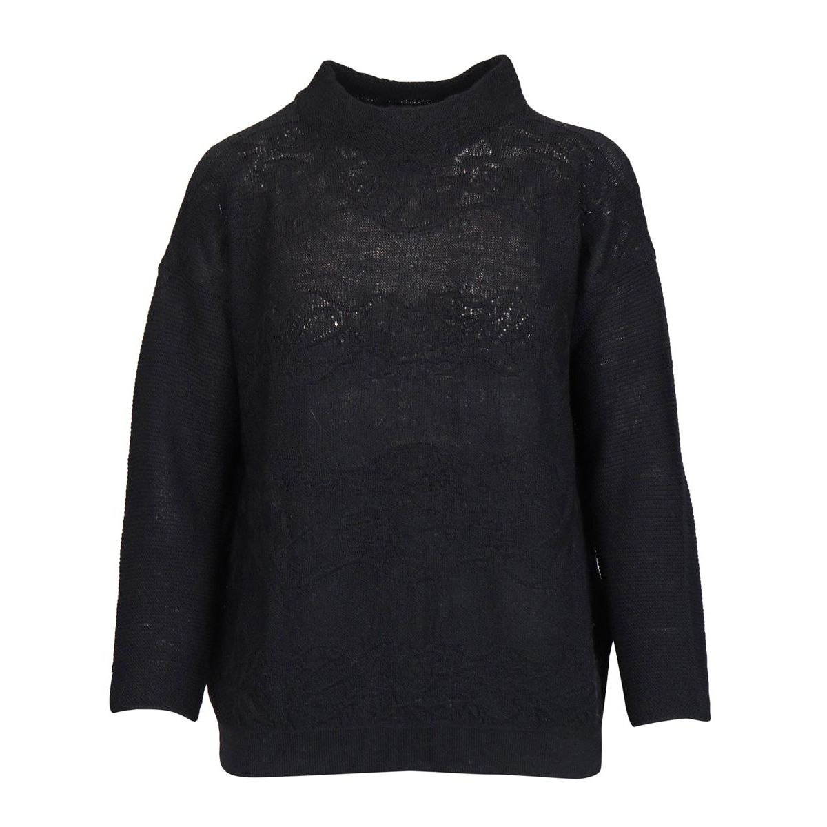 Turtleneck sweater in wool with embroidery Black Alpha Studio