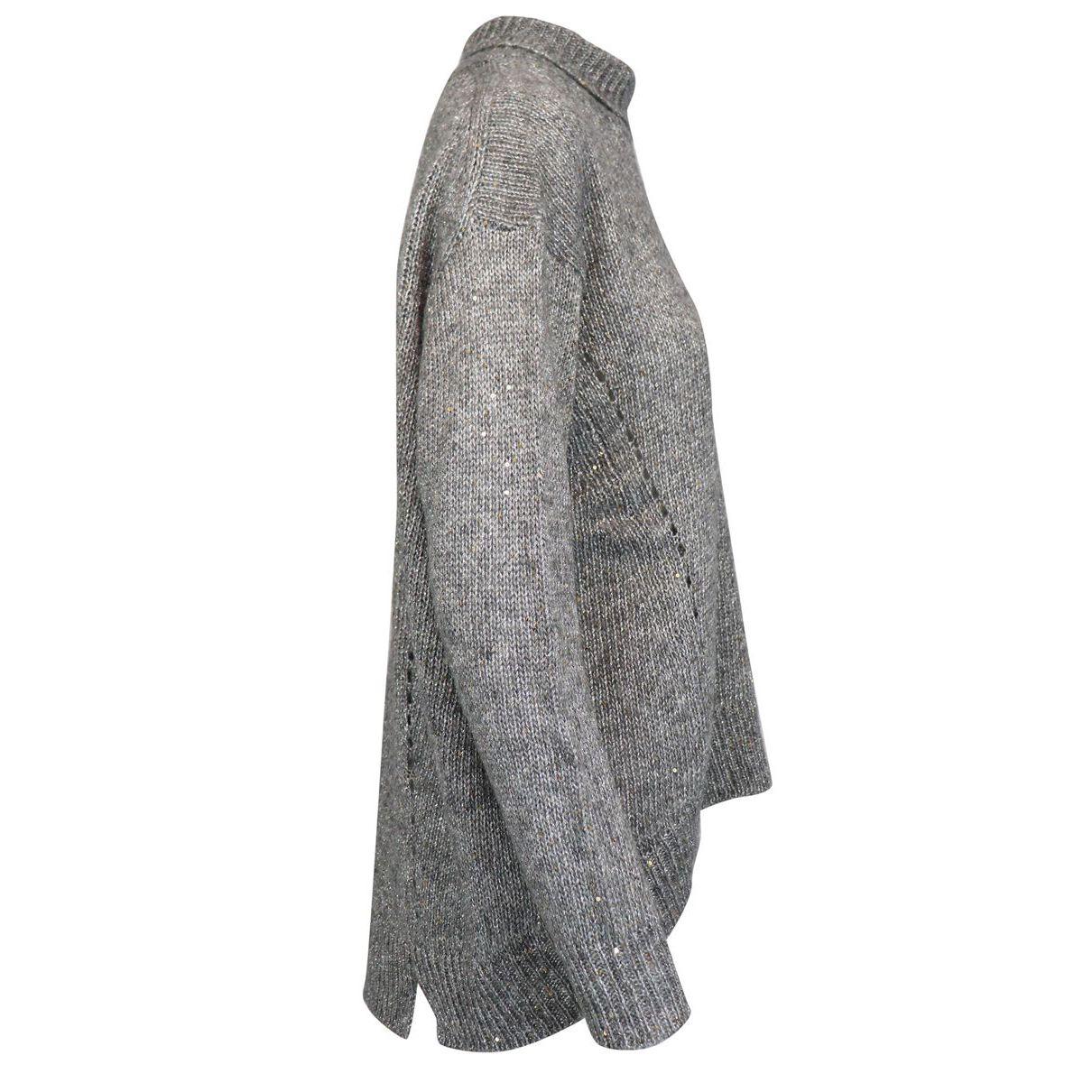 Lurex wool blend turtleneck sweater Light grey Alpha Studio