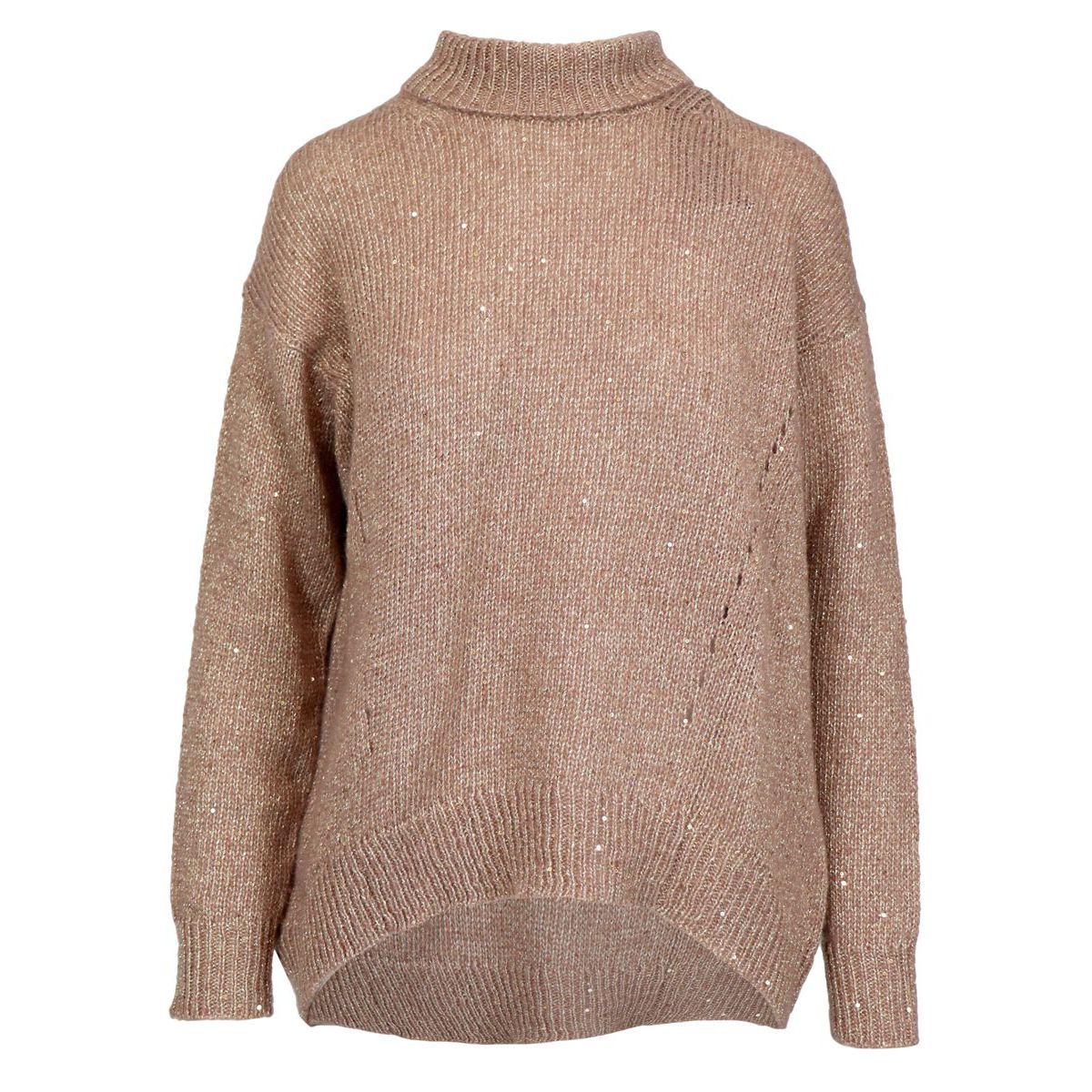 Lurex wool blend turtleneck sweater Honey Alpha Studio