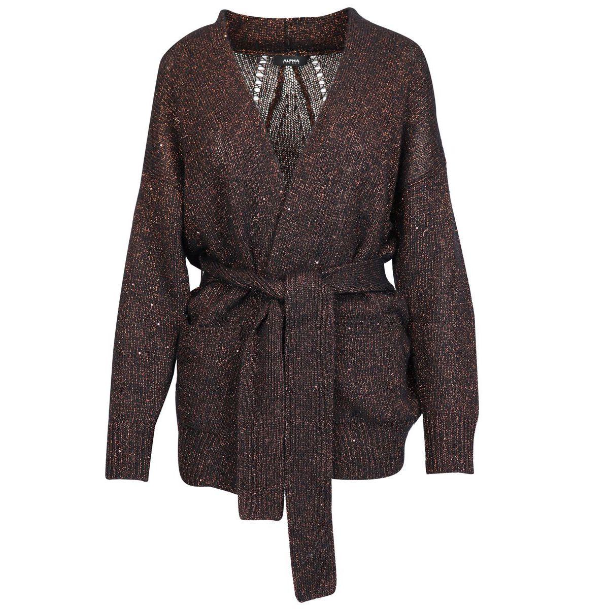 Lurex wool blend cardigan with belt and pockets Black Alpha Studio