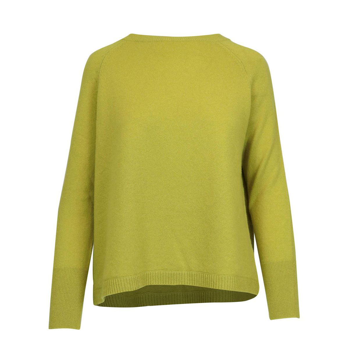 Cashmere pullover with ribbed profiles Acid green Alpha Studio