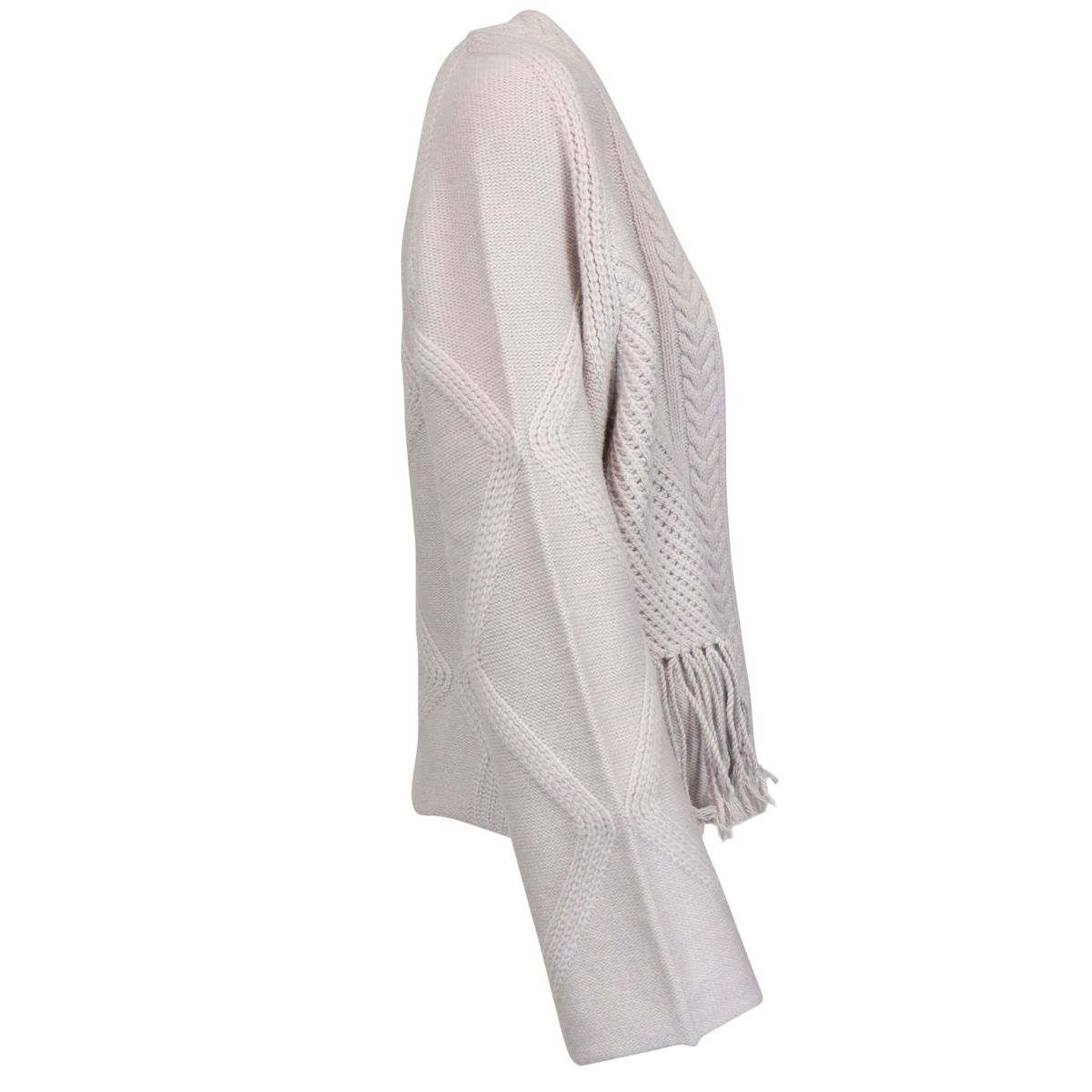 Buttonless cashmere cardigan with fringe Ice Alpha Studio