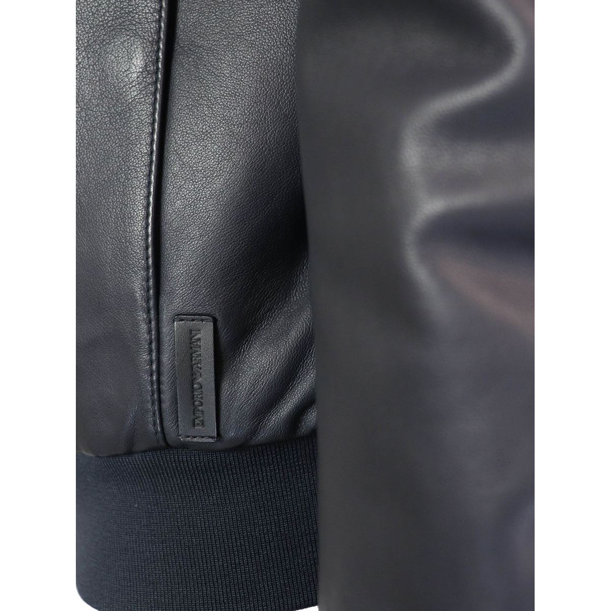 Leather bomber jacket with zip Navy Emporio Armani