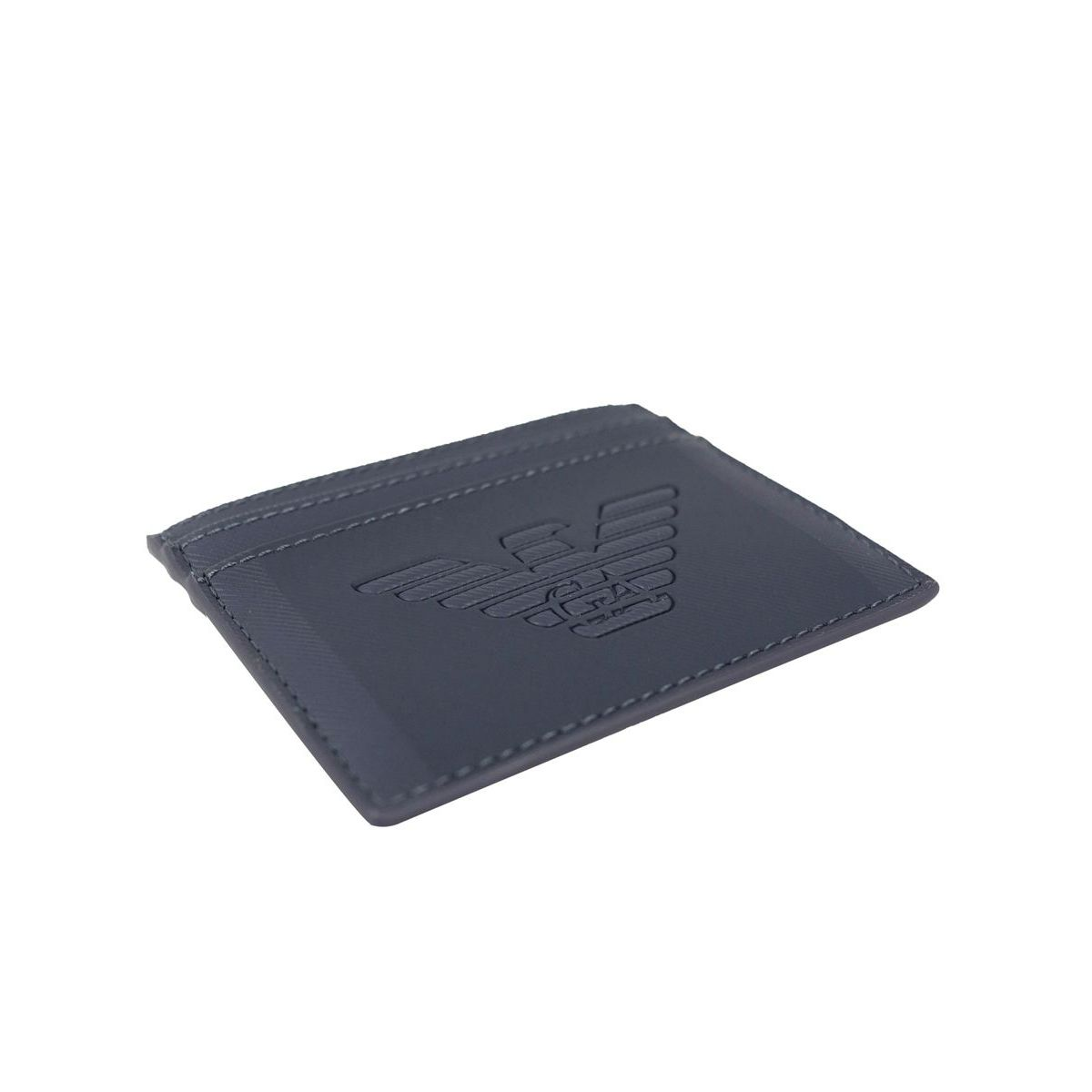 Faux leather card holder with embossed logo Navy Emporio Armani