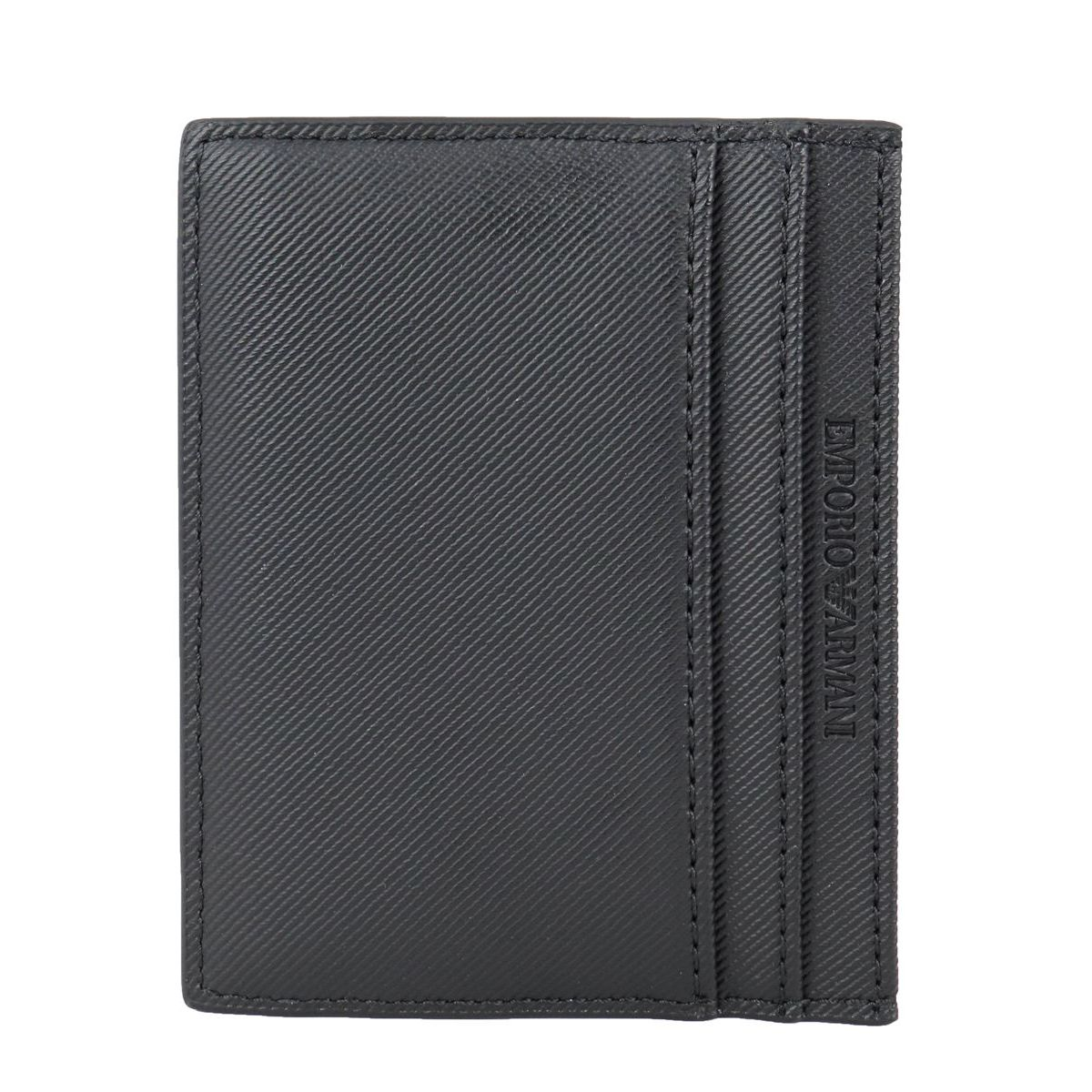 Faux leather card holder with embossed logo Black Emporio Armani