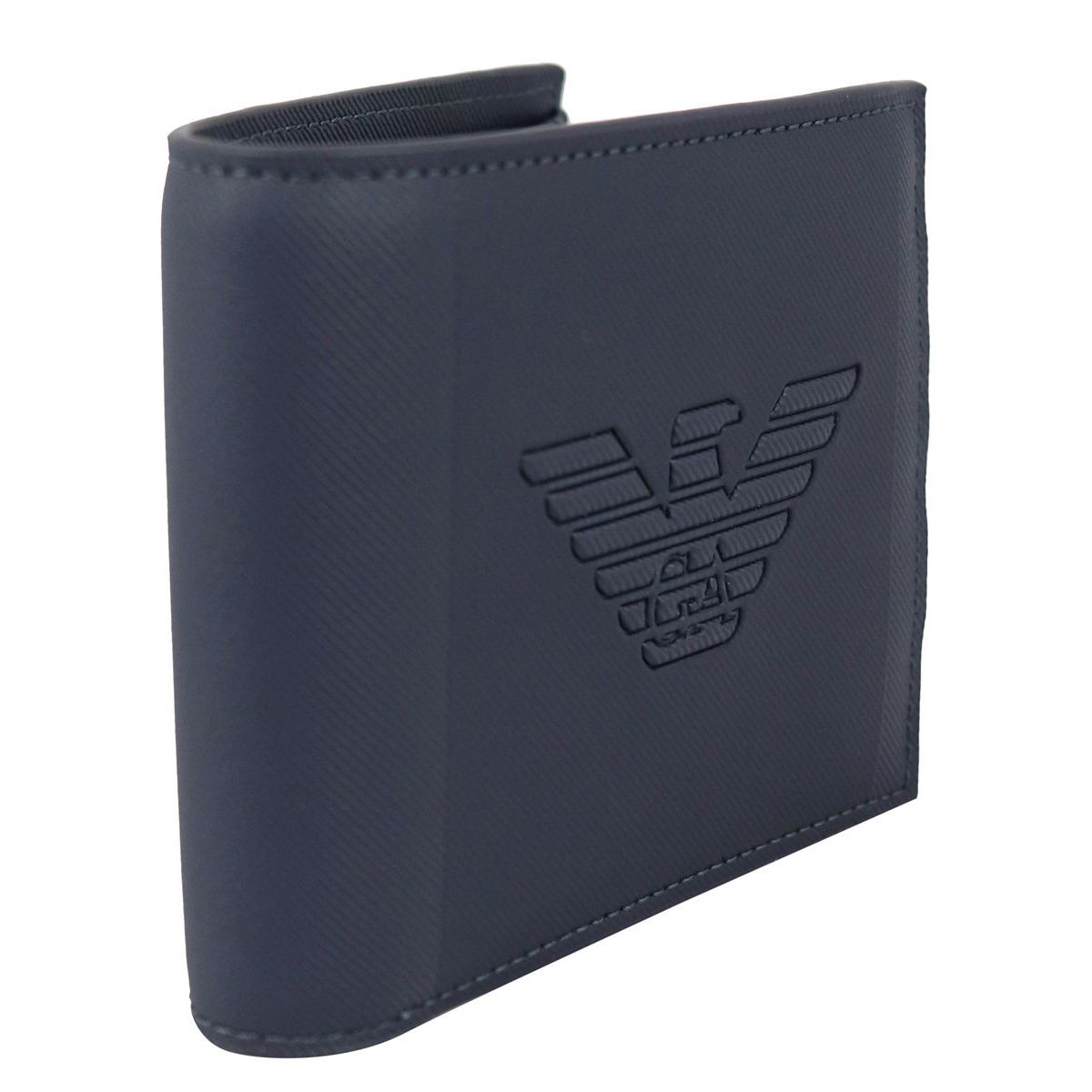 Faux leather wallet with embossed logo Navy Emporio Armani