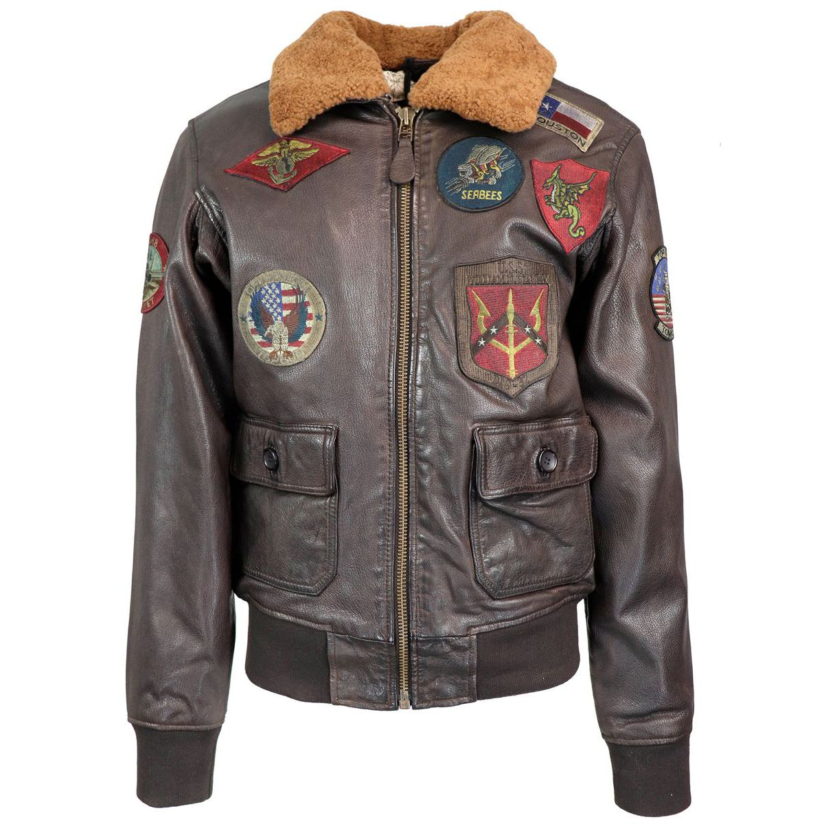 Maverick leather jacket with patch applications Brown Top Gun