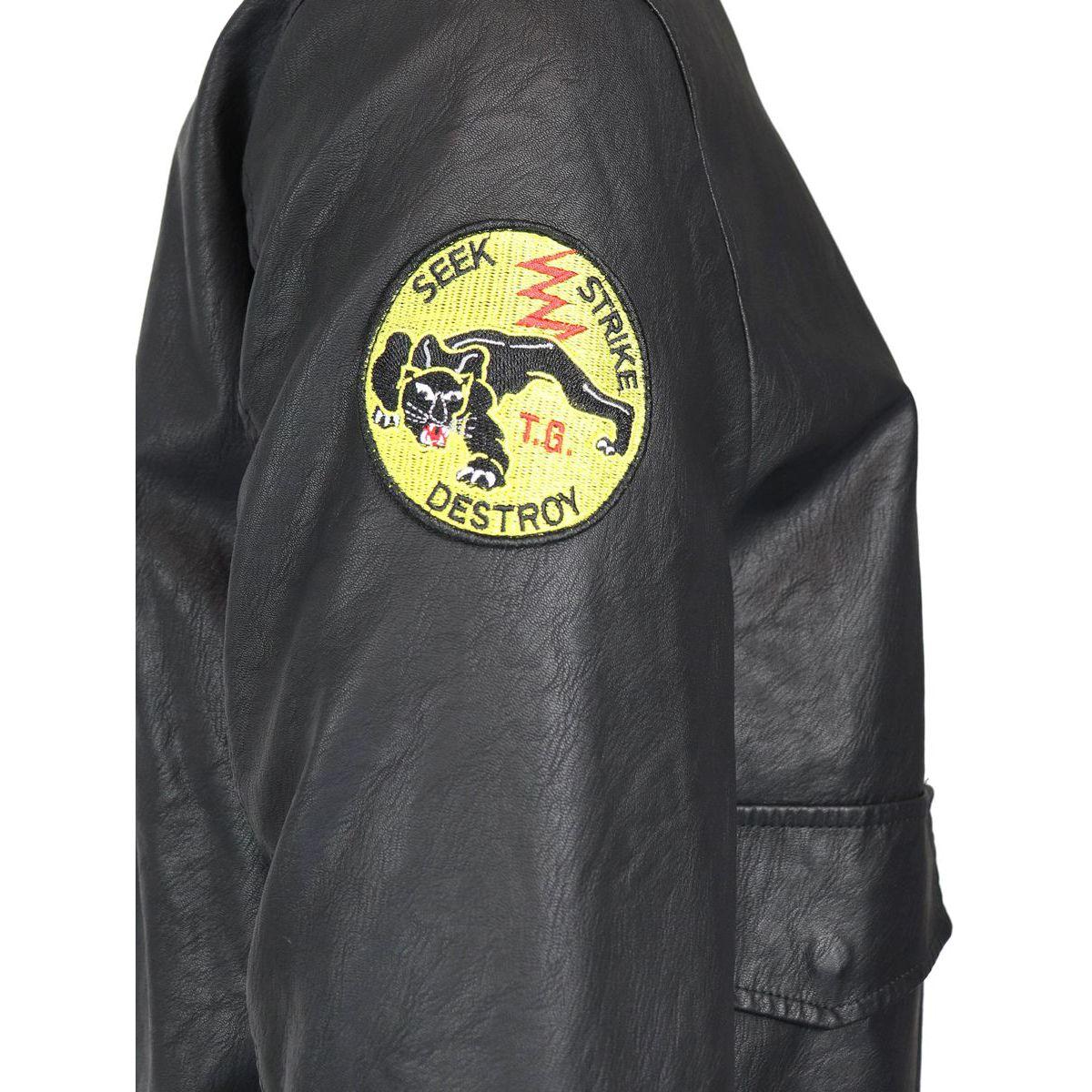 Bomber Kansas con applicazioni patch Nero Top Gun