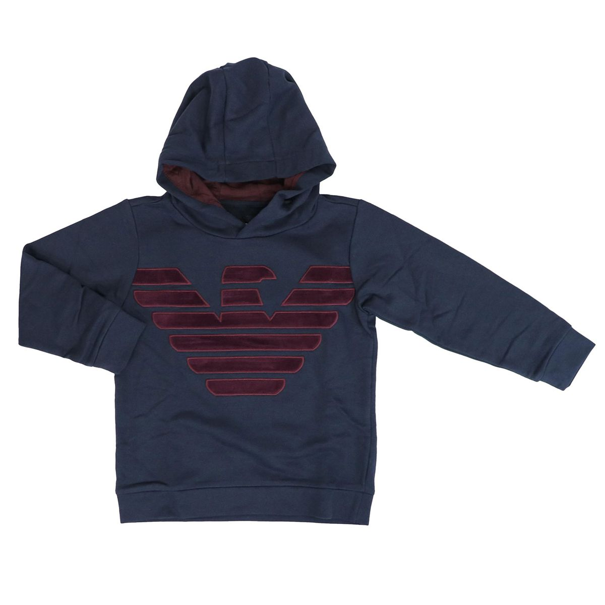Cotton sweatshirt with contrasting hood and logo in relief Blue Emporio Armani