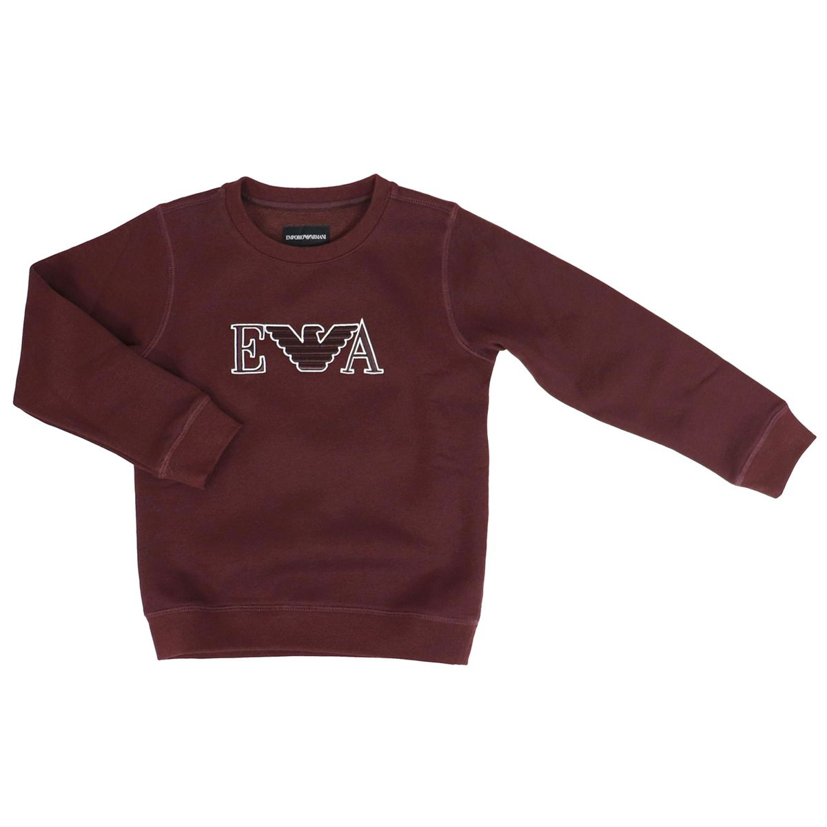 Crewneck sweatshirt in cotton with logo embroidery Bordeaux Emporio Armani