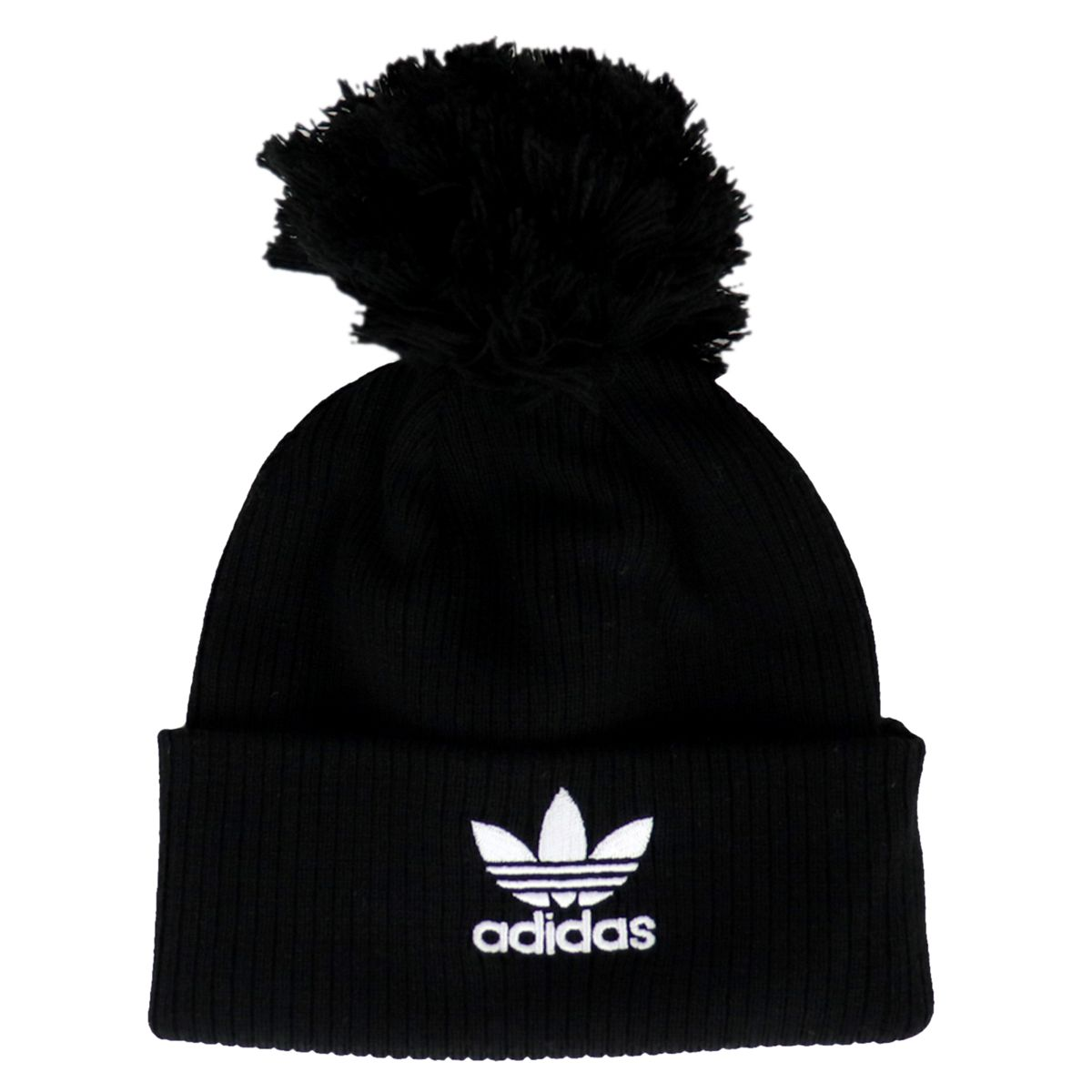 Ribbed knit hat with pompon and contrast logo Black Adidas