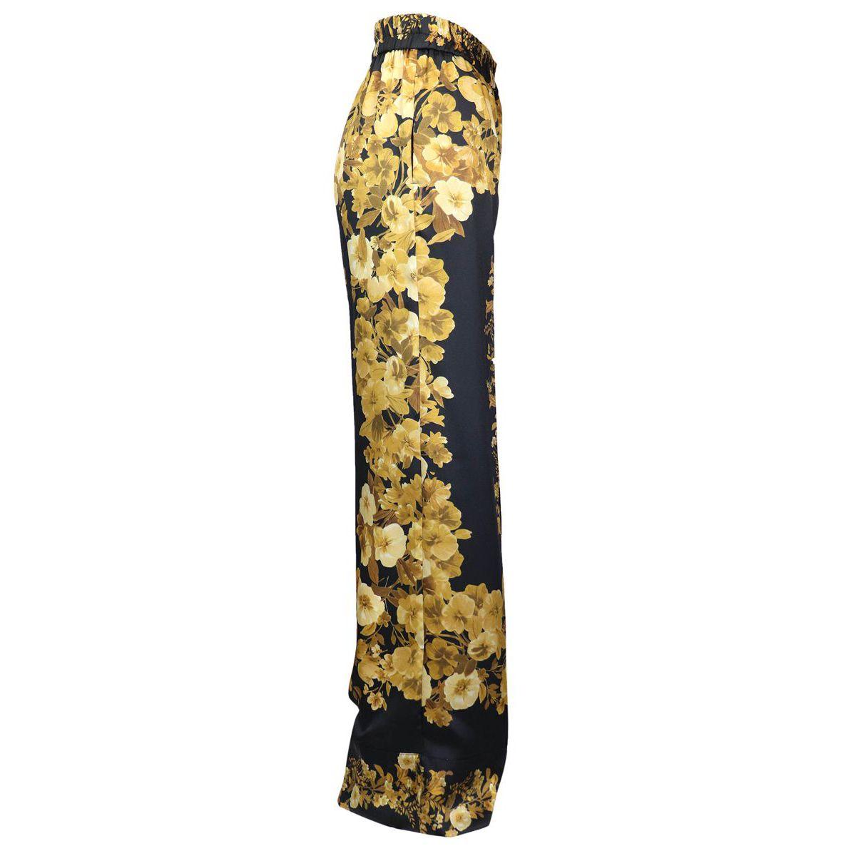 Pantalon large avec motif doré Noir / fantaisie Twin-Set